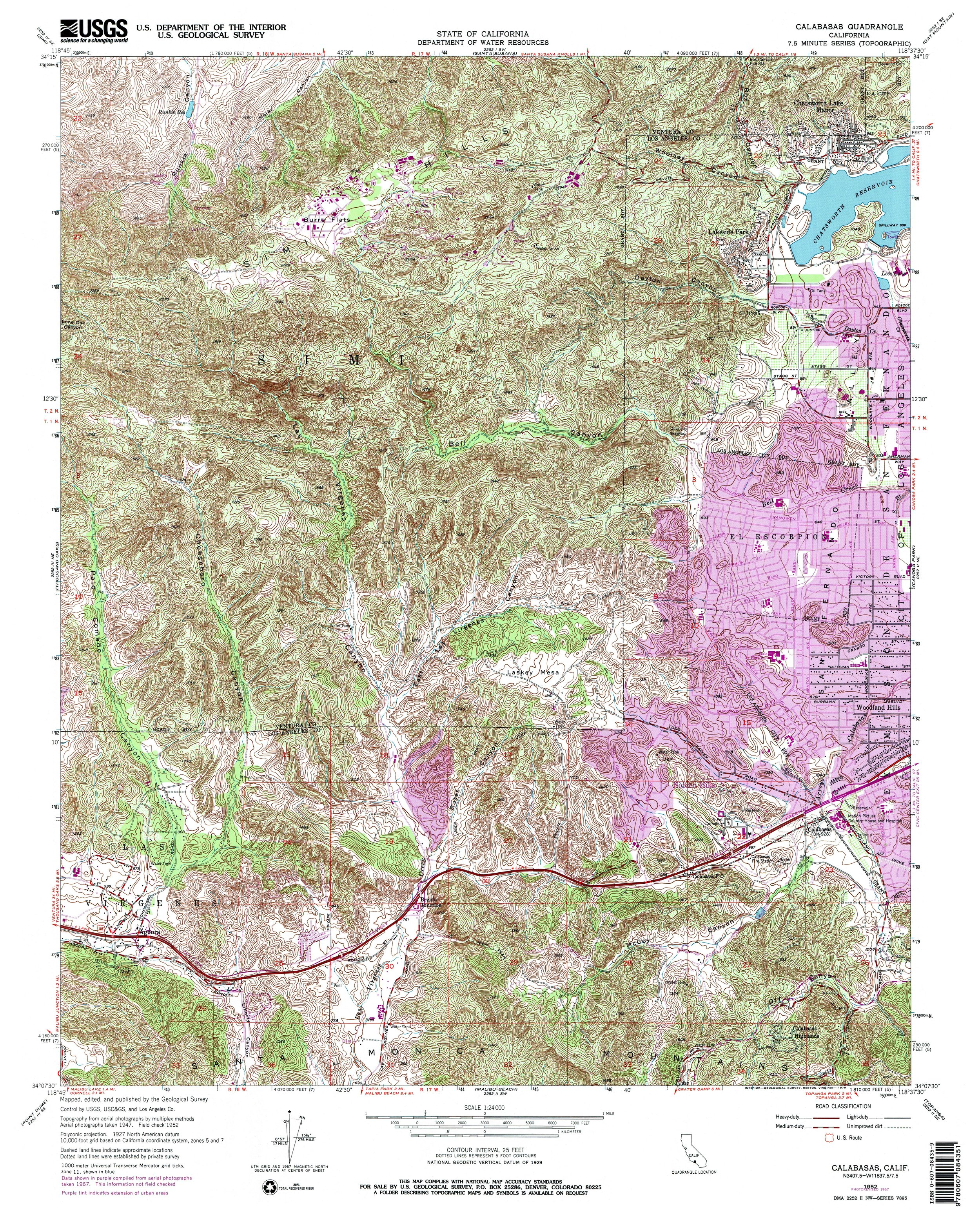 Calabasas Topography Map