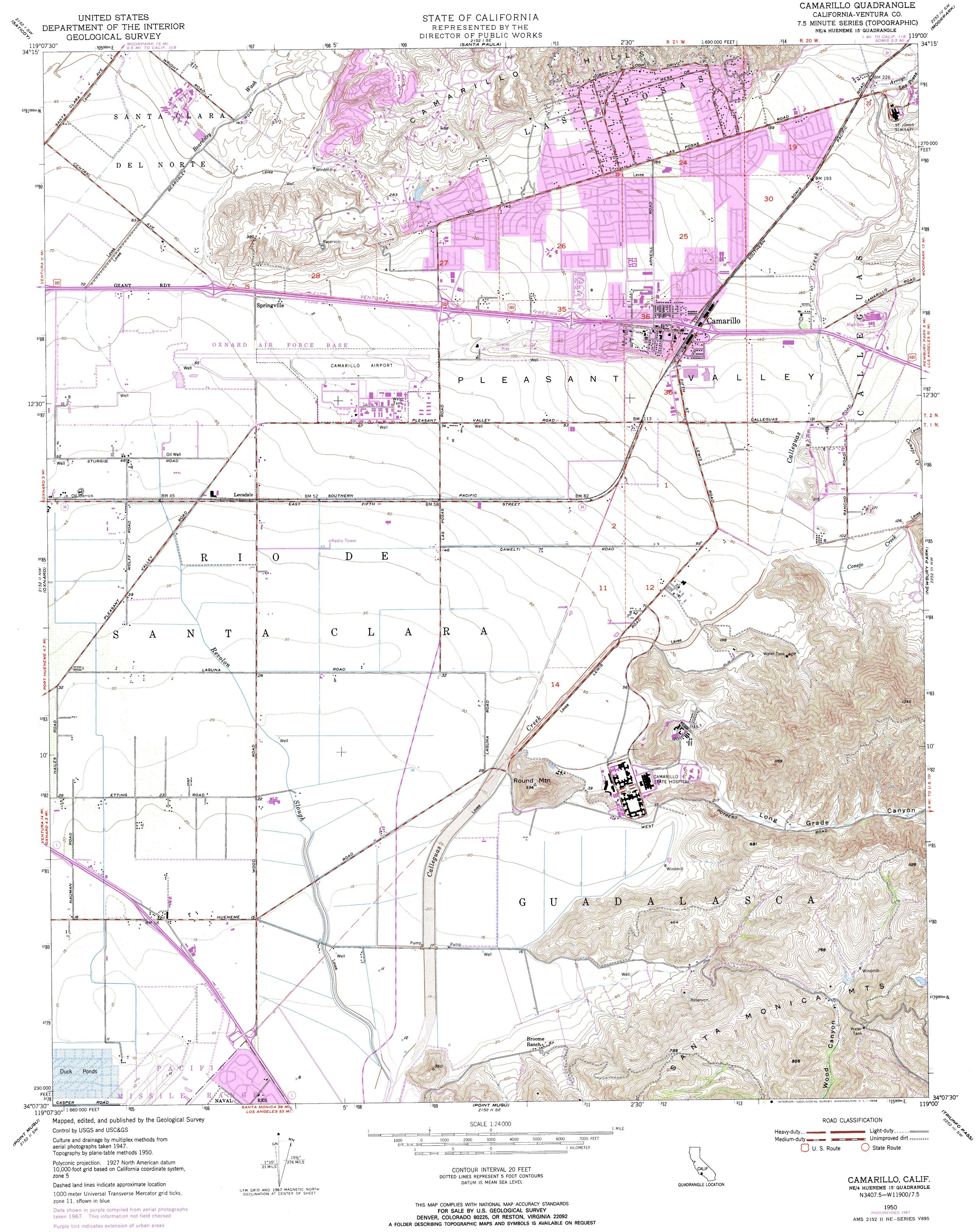 Camarillo Topography Map