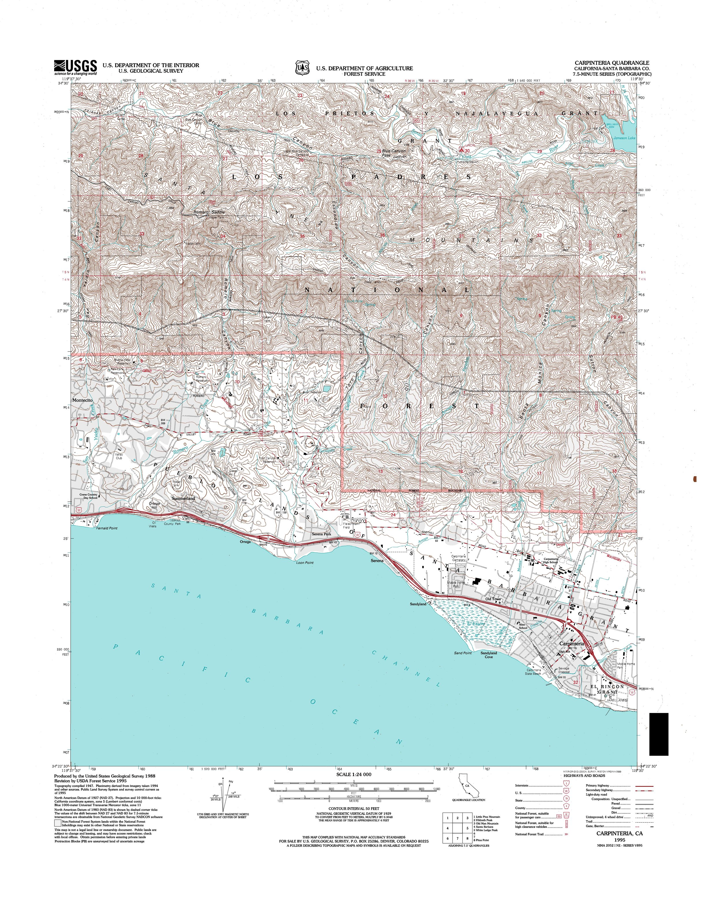 Carpinteria Topography Map