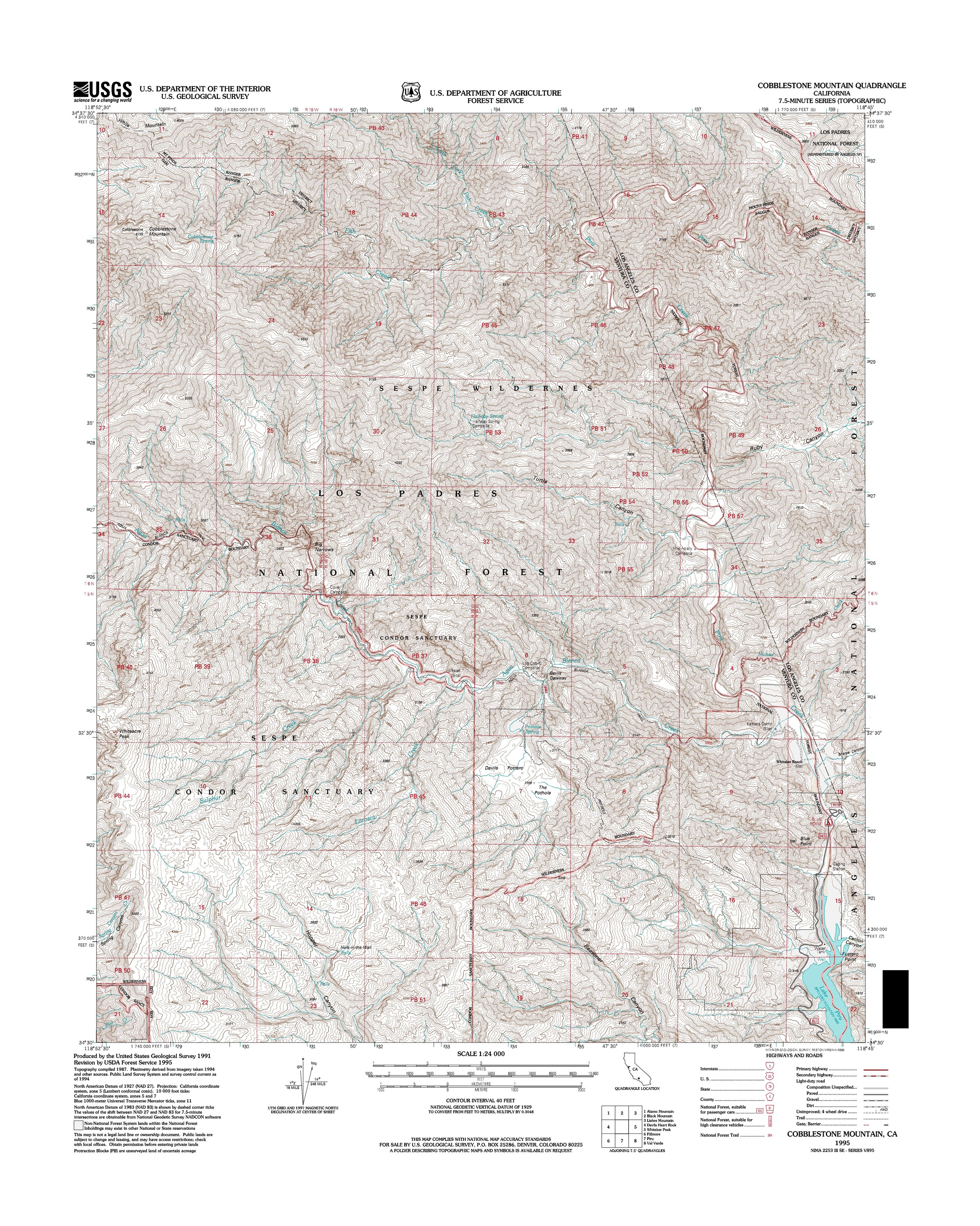 Cobblestone Mountain Topography Map