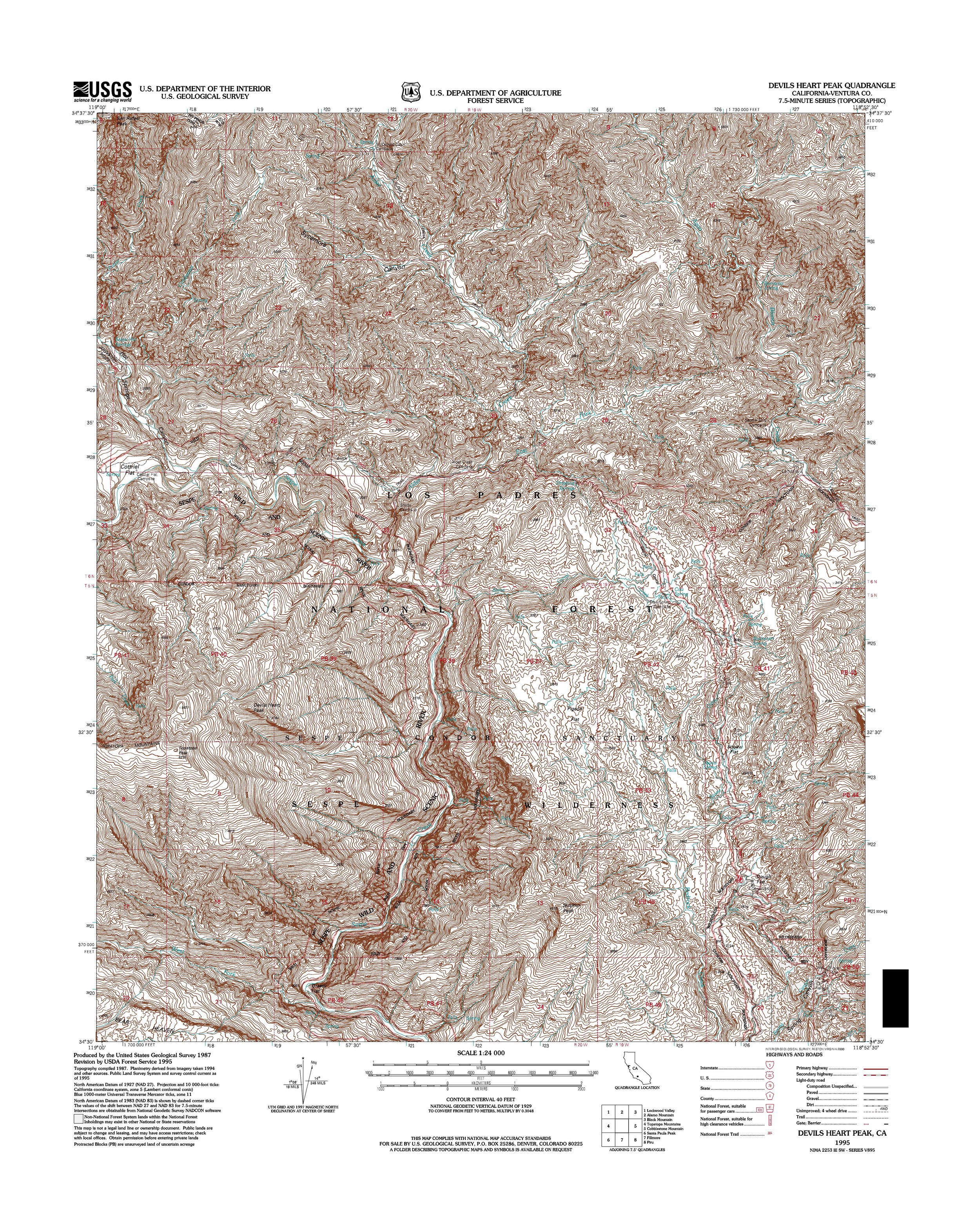Devils Heart Peak Topography Map