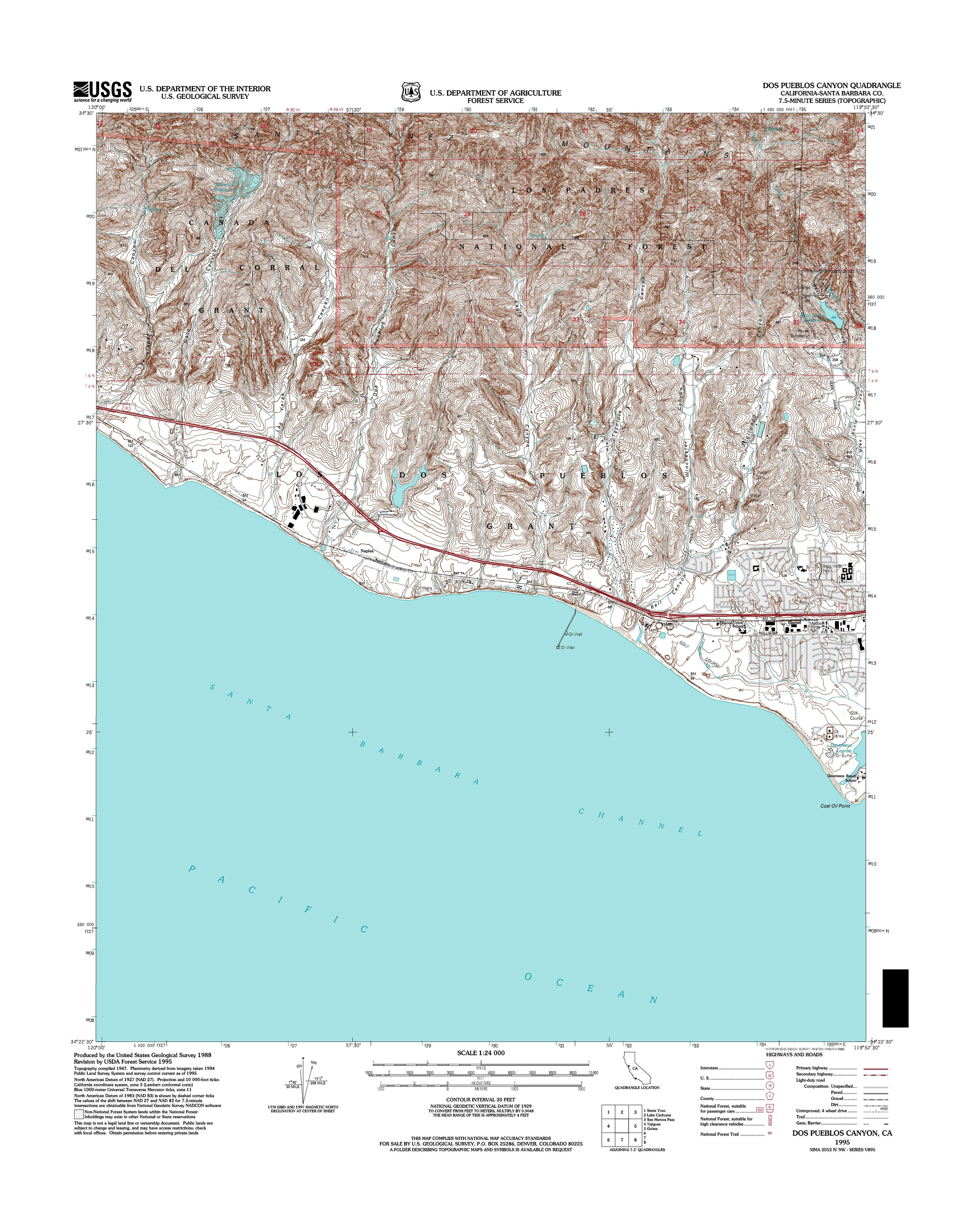 Dos Pueblos Canyon Topography Map
