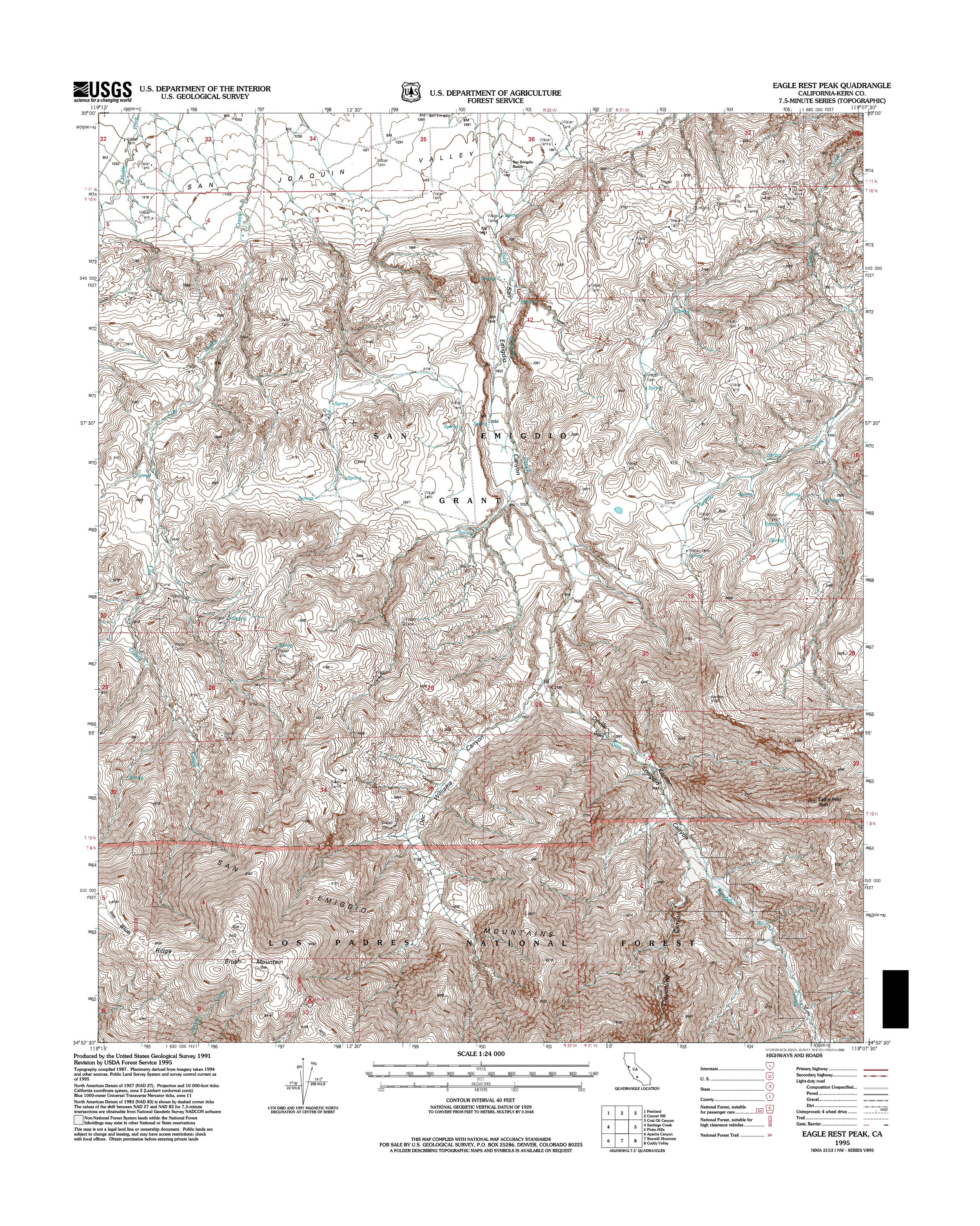 Eagle Rest Peak Topography Map