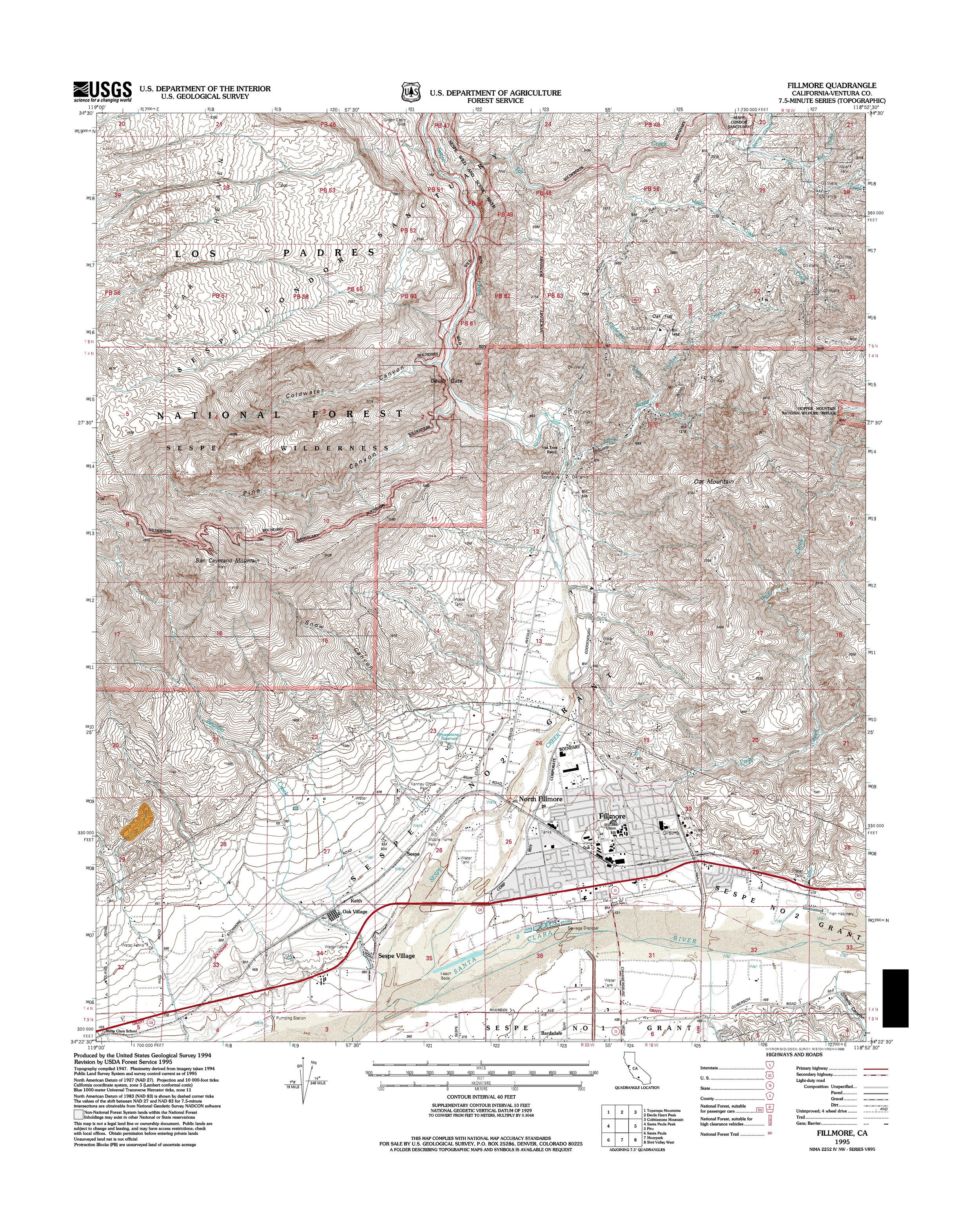 Fillmore Topography Map