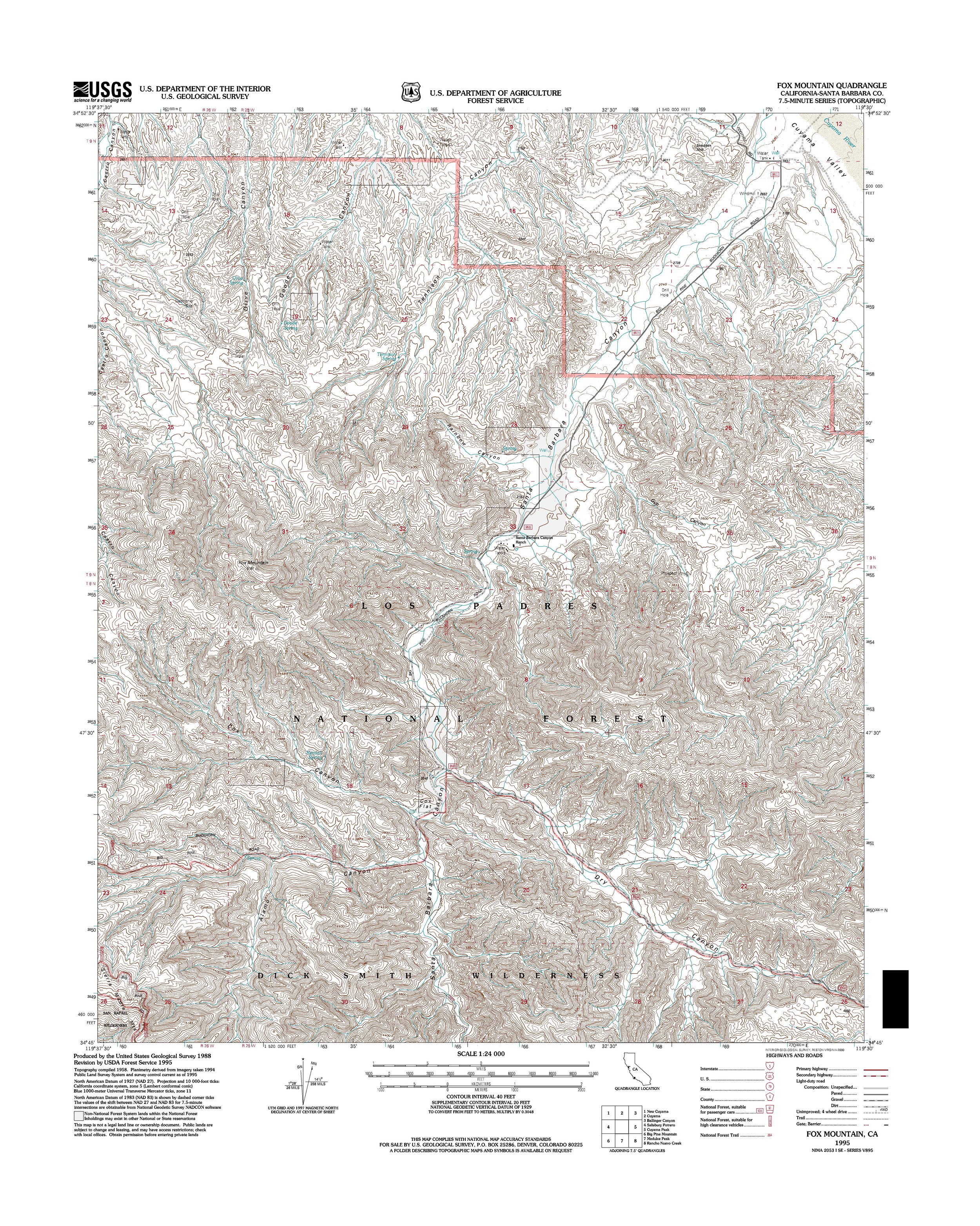 Fox Mountain Topography Map