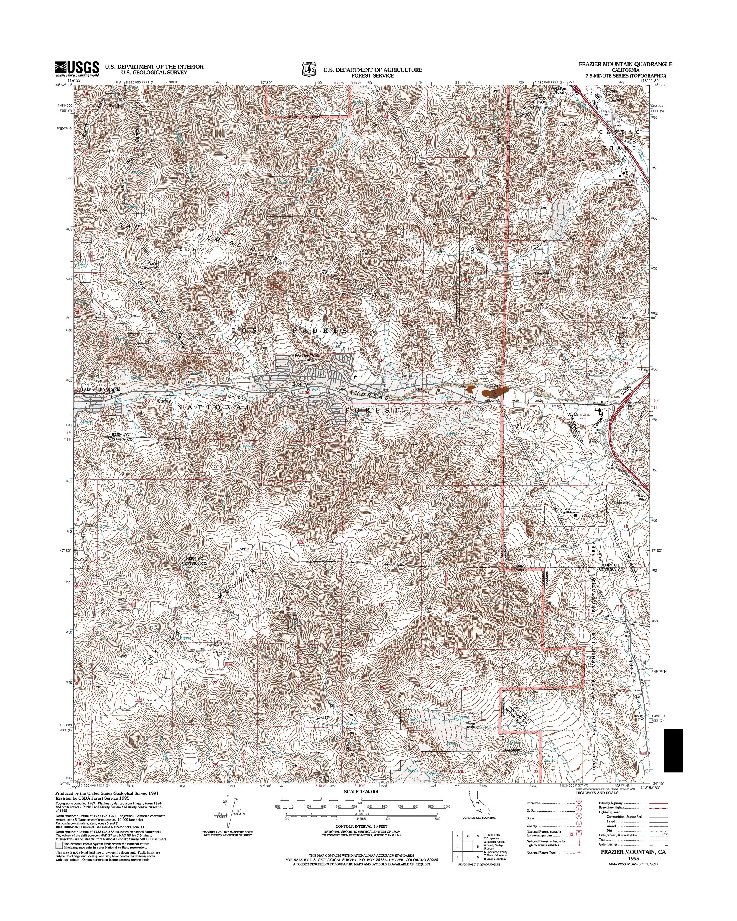 Frazier Mountain Topography Map