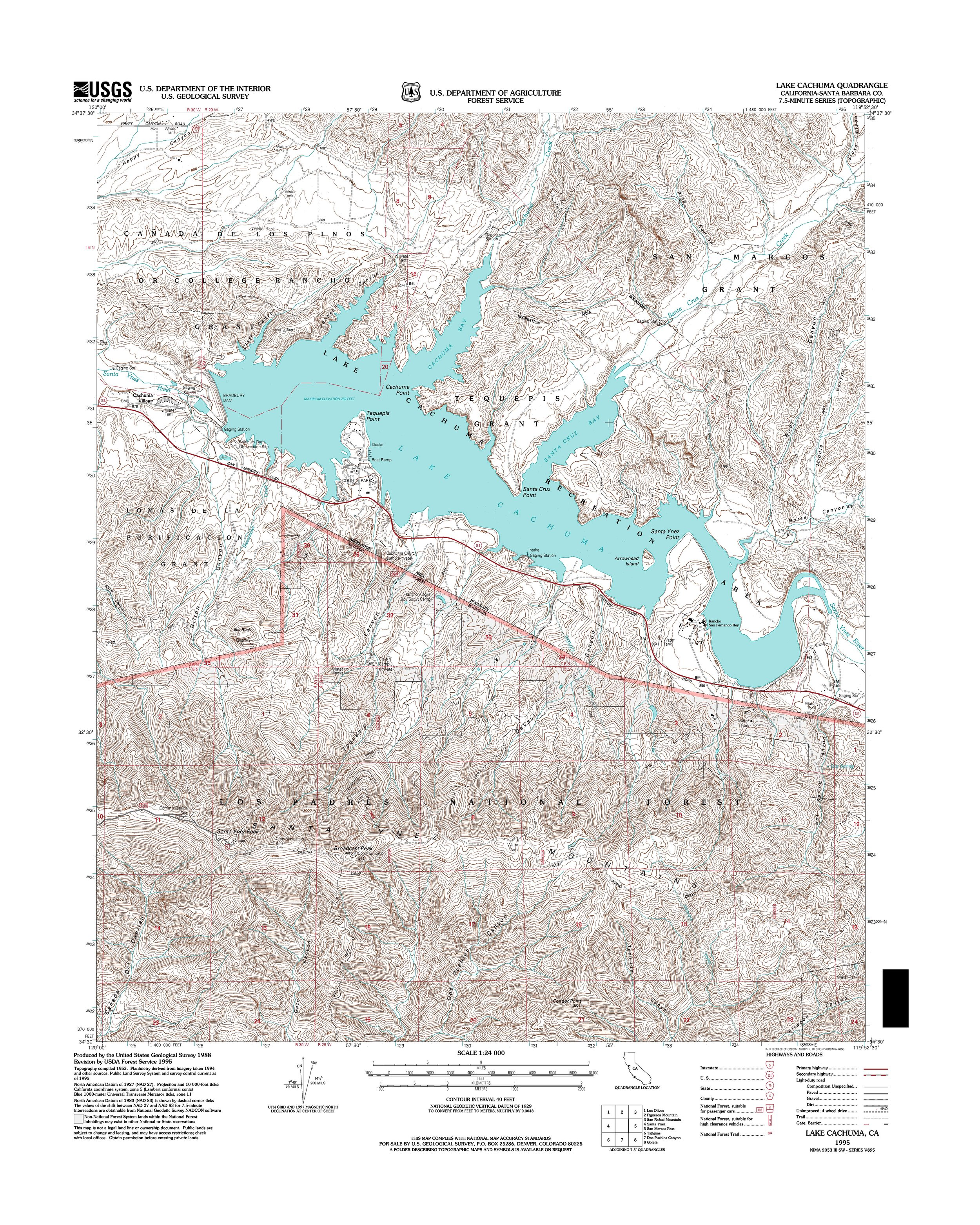Lake Cachuma Topography Map