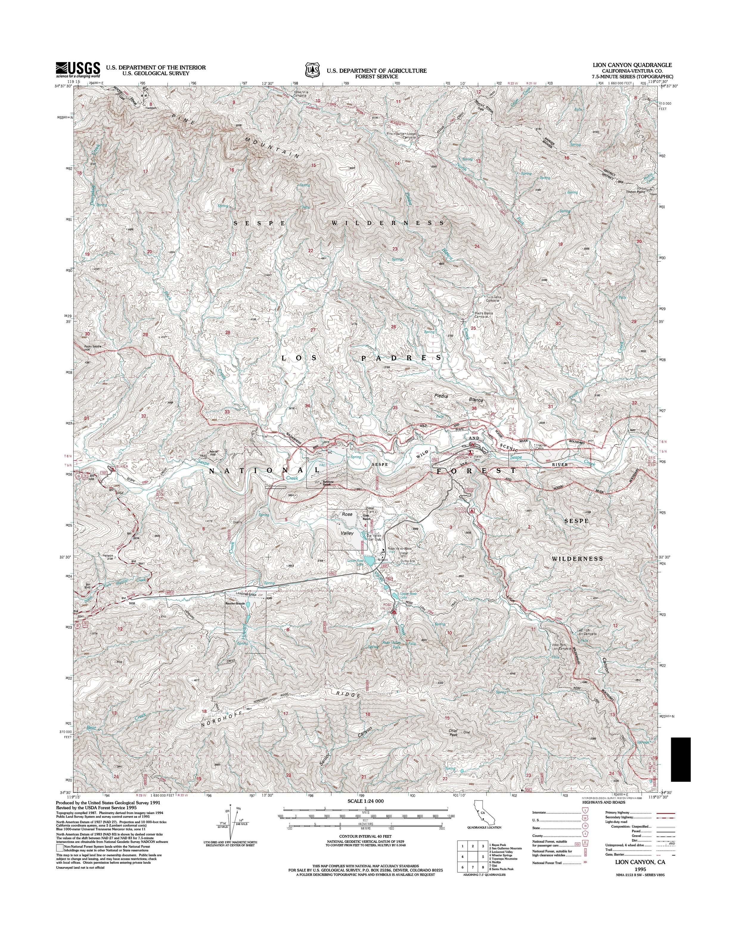 Lion Canyon Topography Map