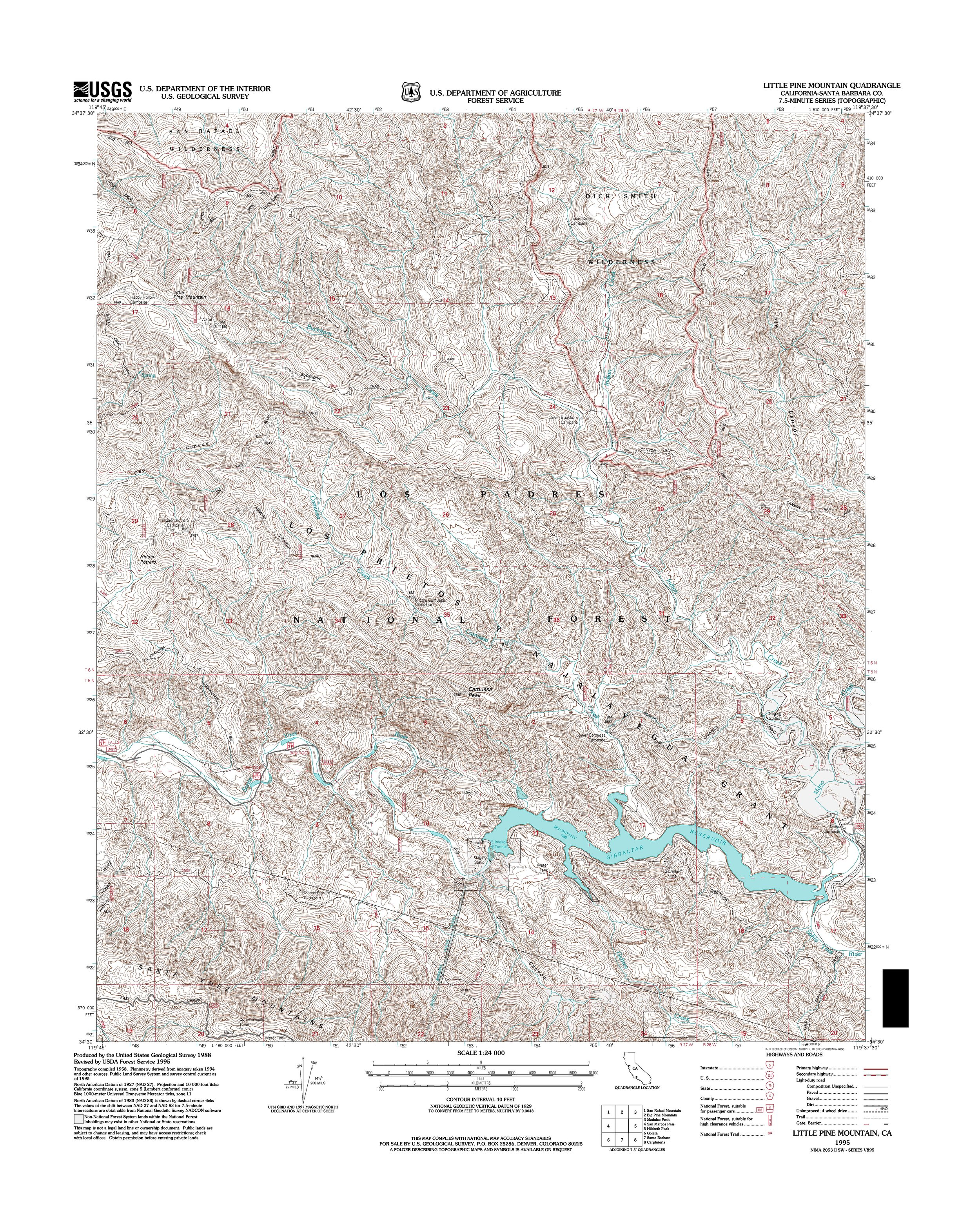 Little Pine Mountain Topography Map