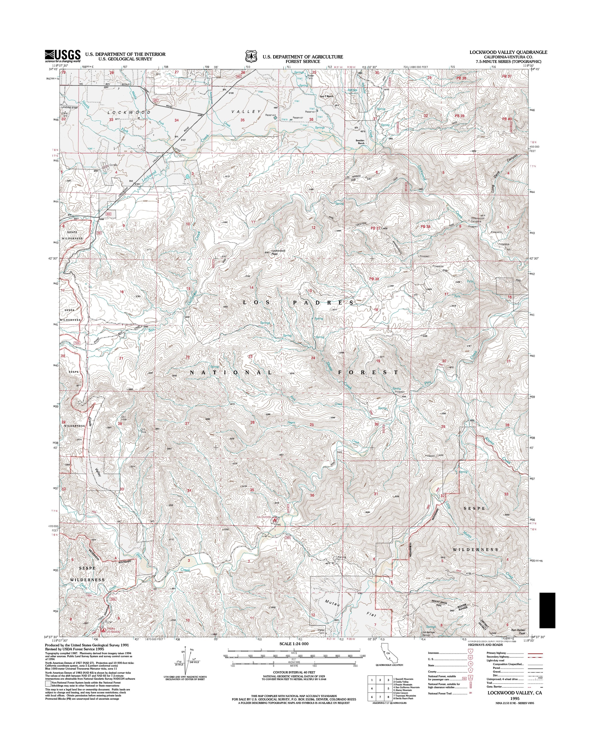 Lockwood Valley Topography Map