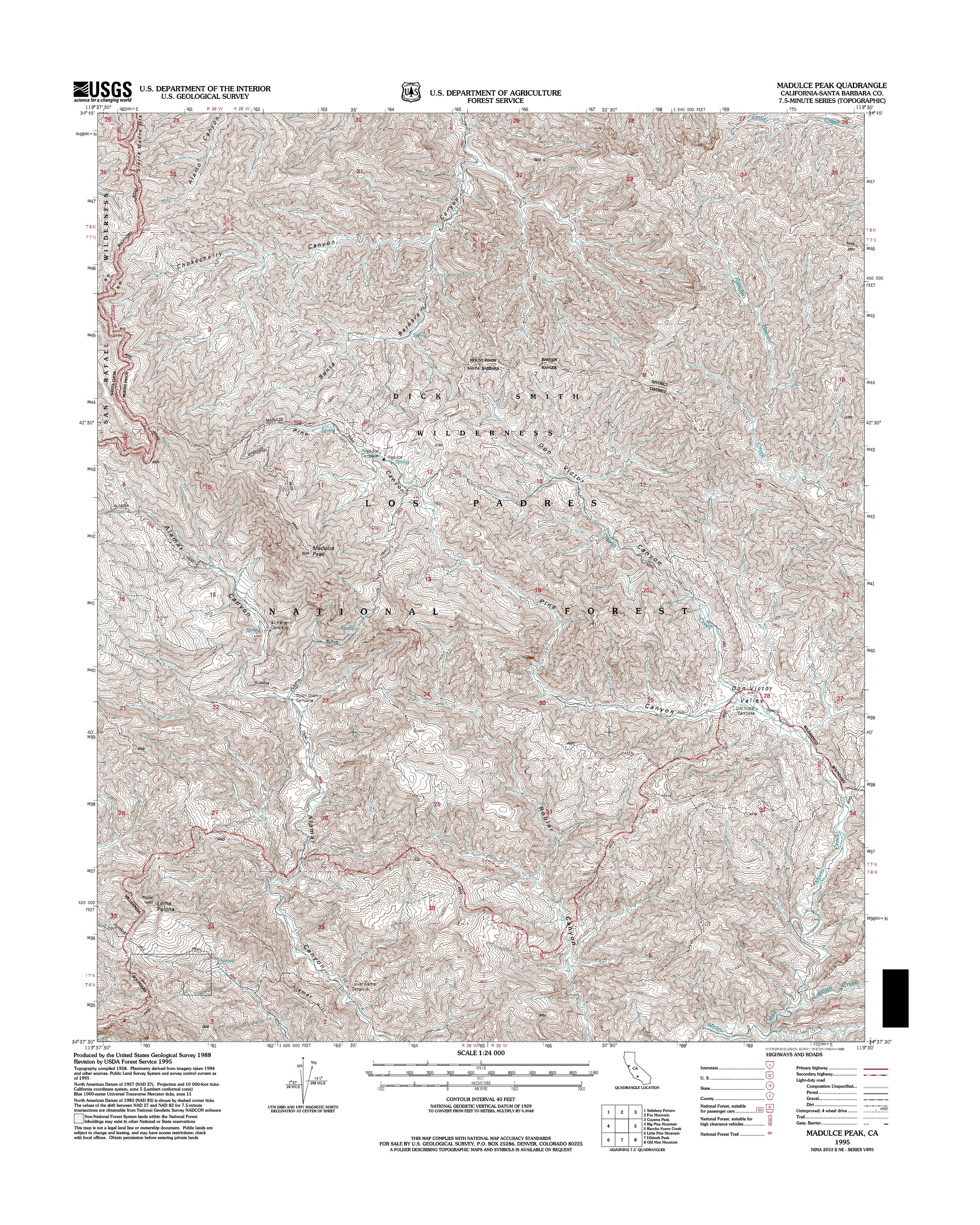 Madulce Peak Topography Map