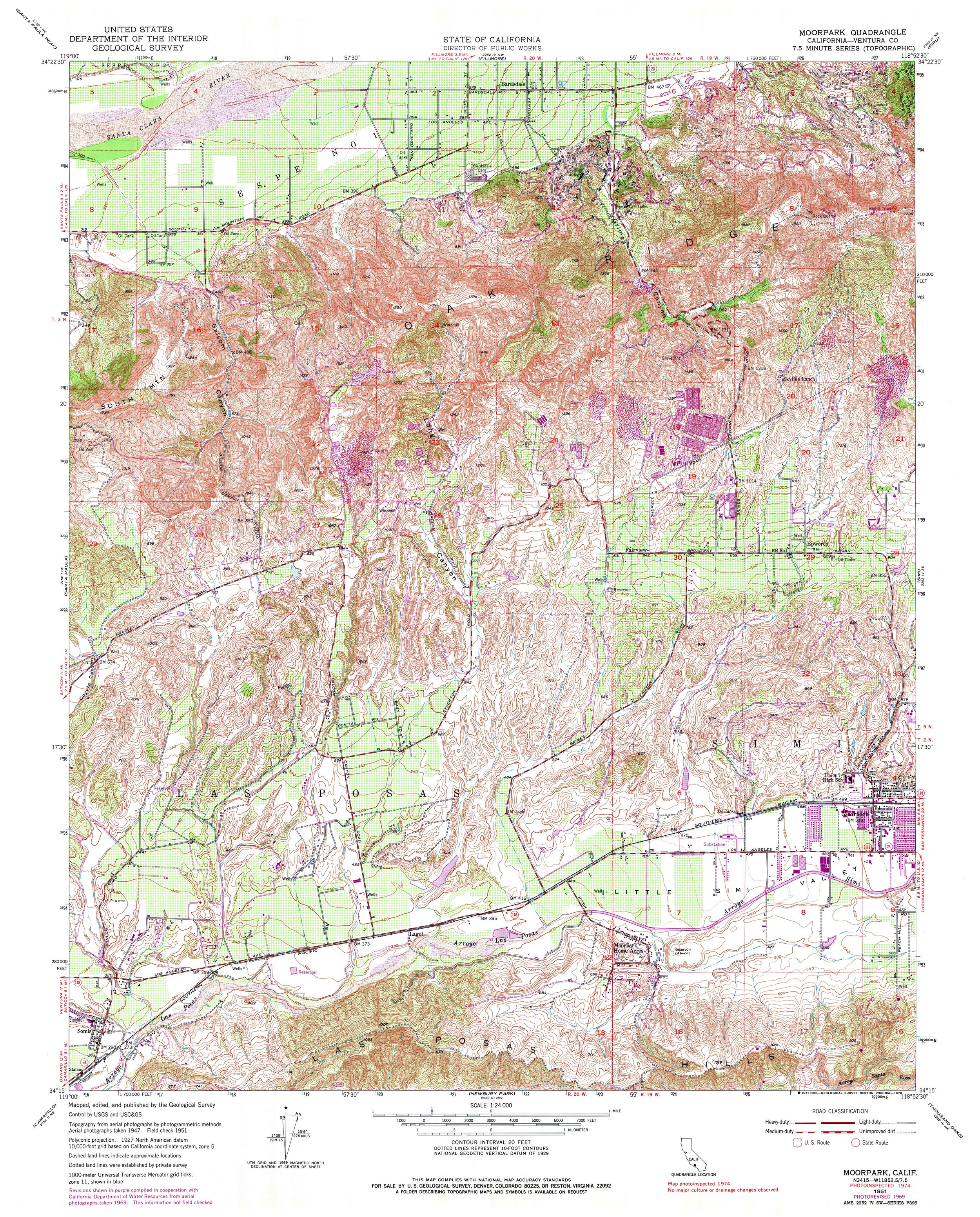 Moorpark Topography Map