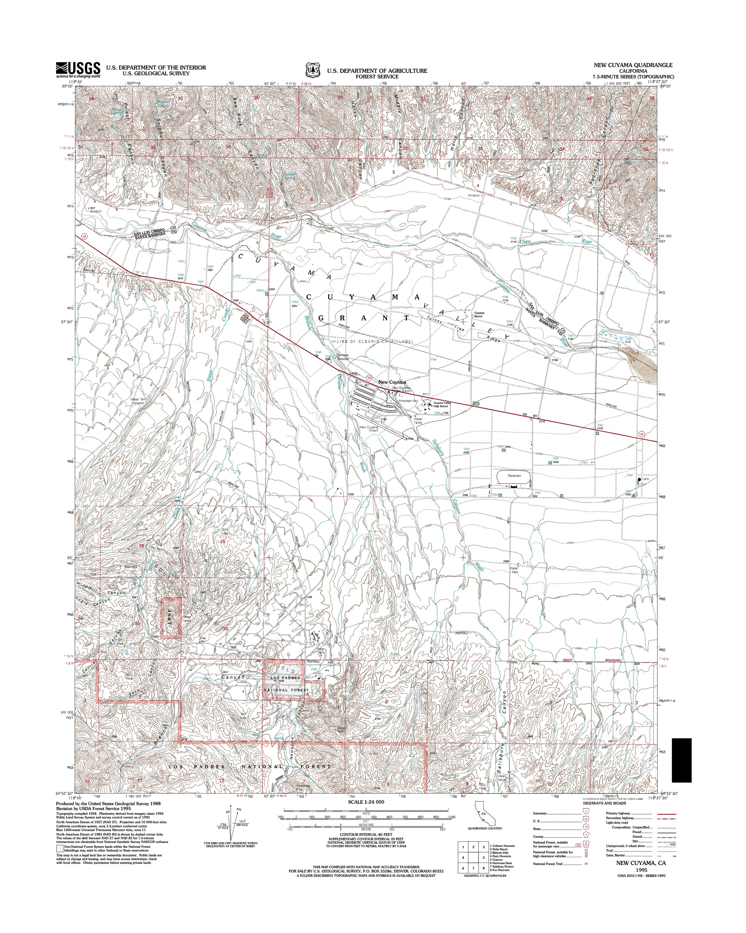 New Cuyama Topography Map