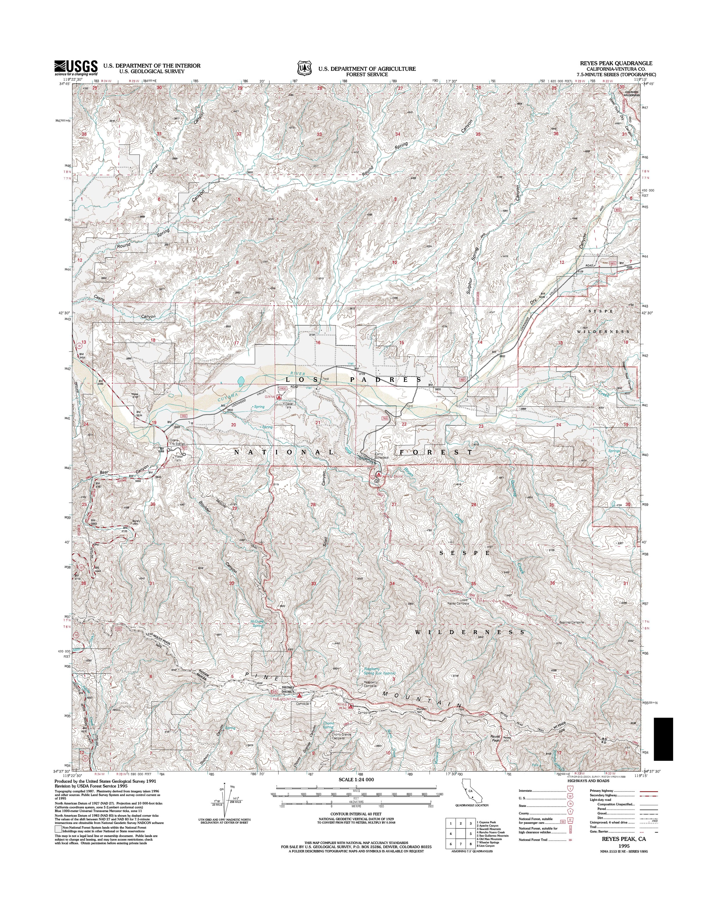 Reyes Peak Topography Map