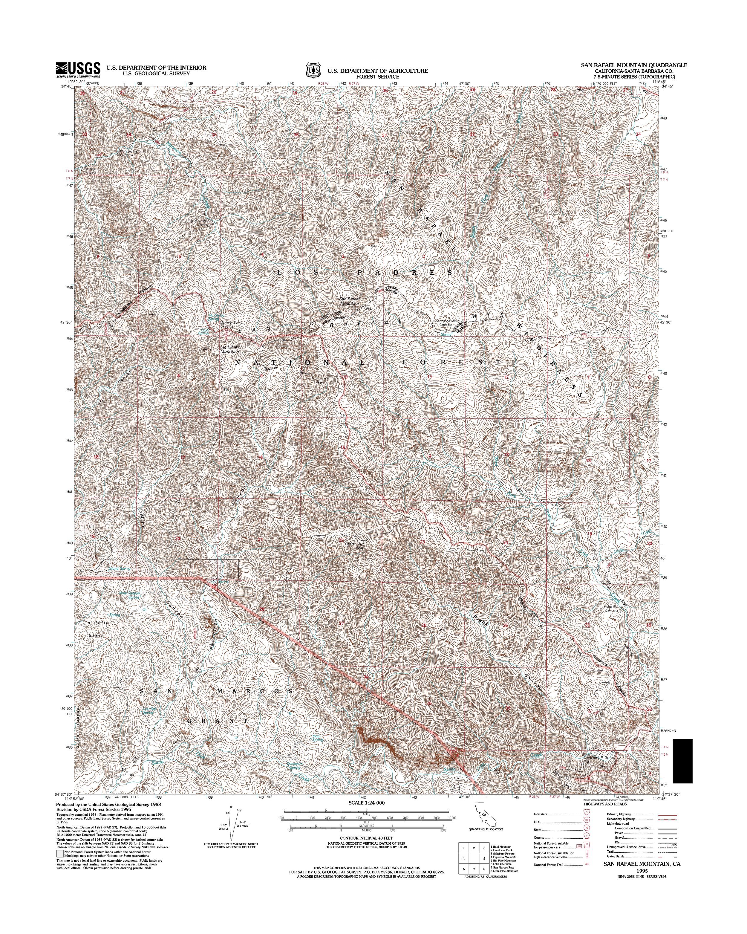 San Rafael Mountain Topography Map