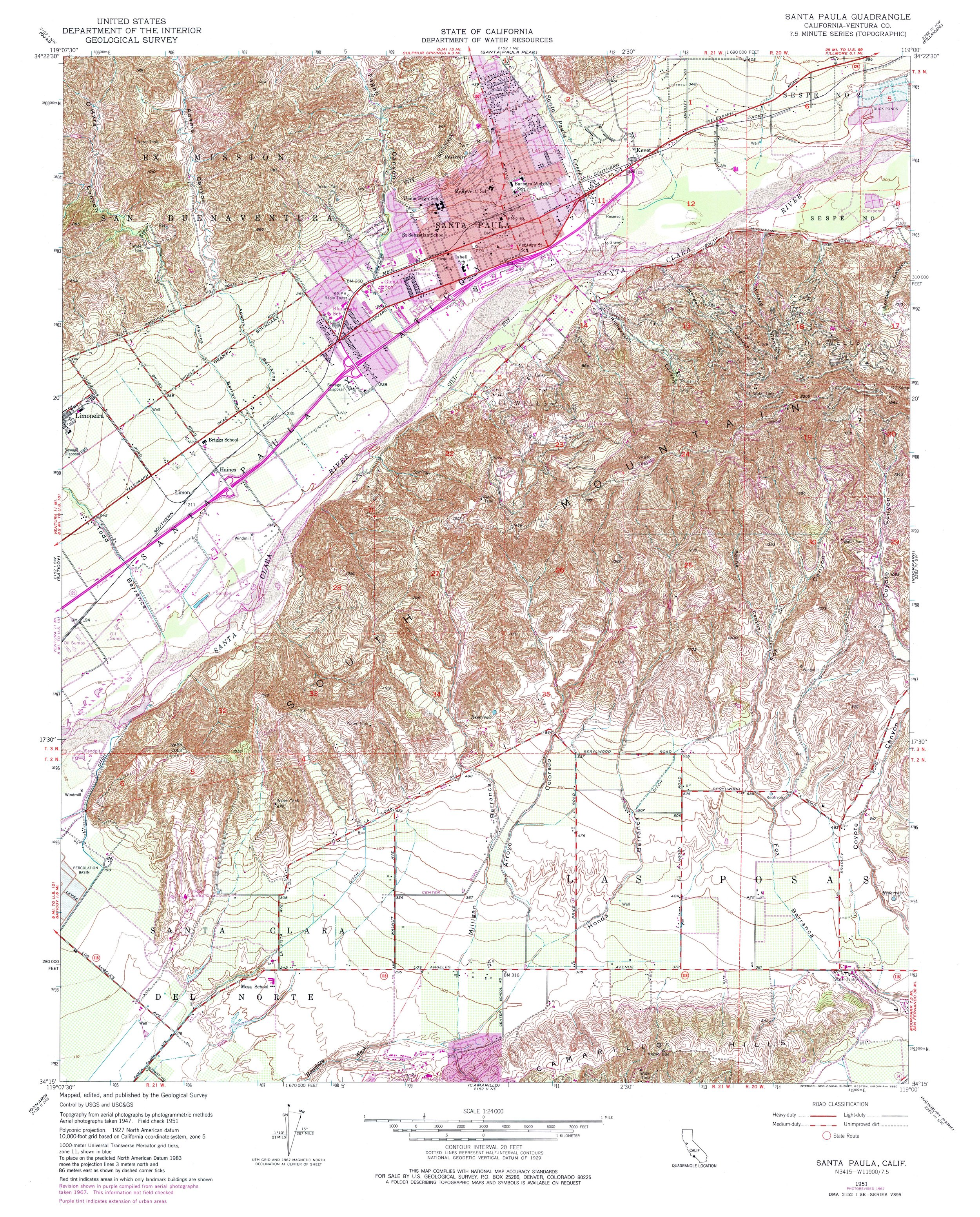 Santa Paula Topography Map