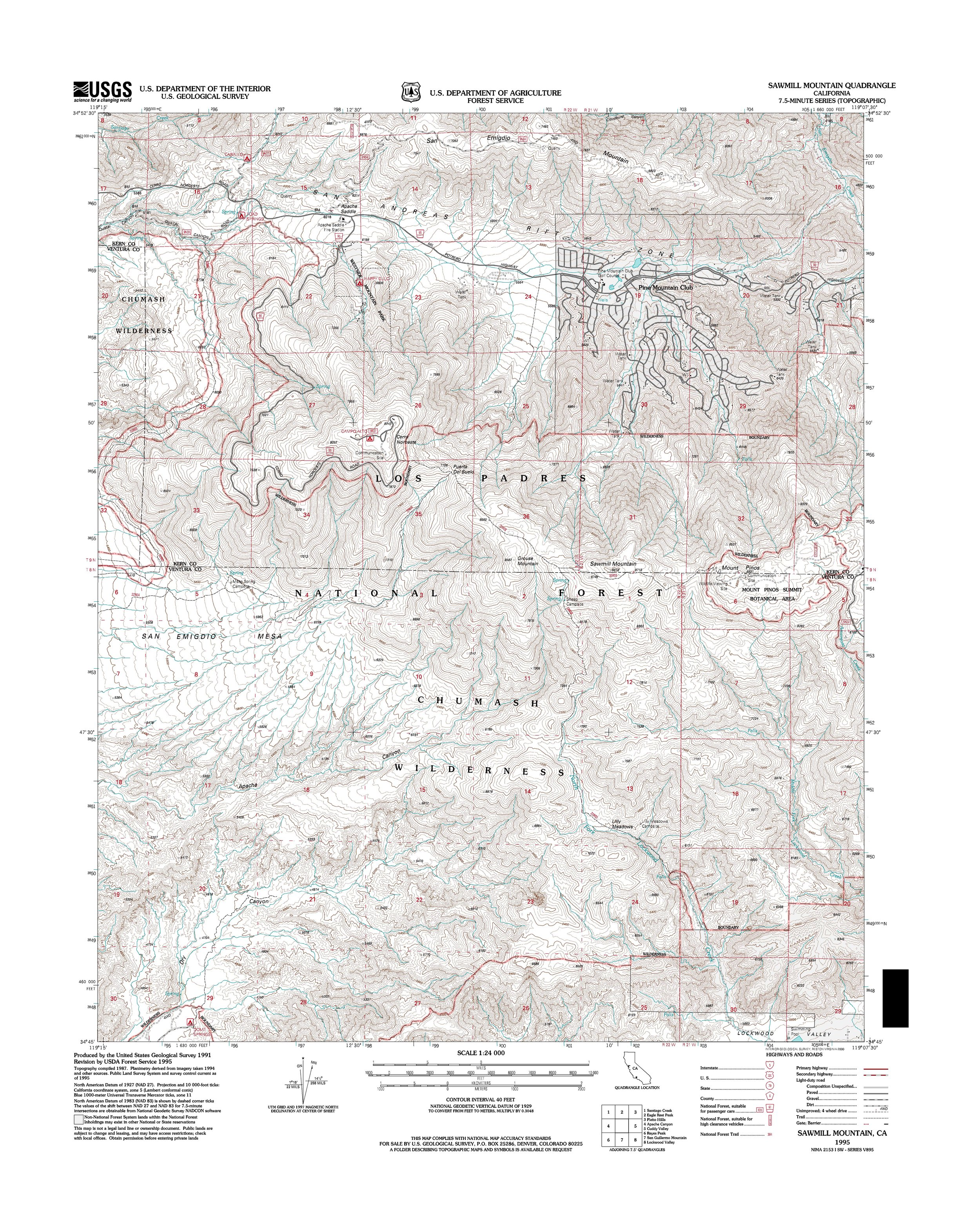 Sawmill Mountain Topography Map