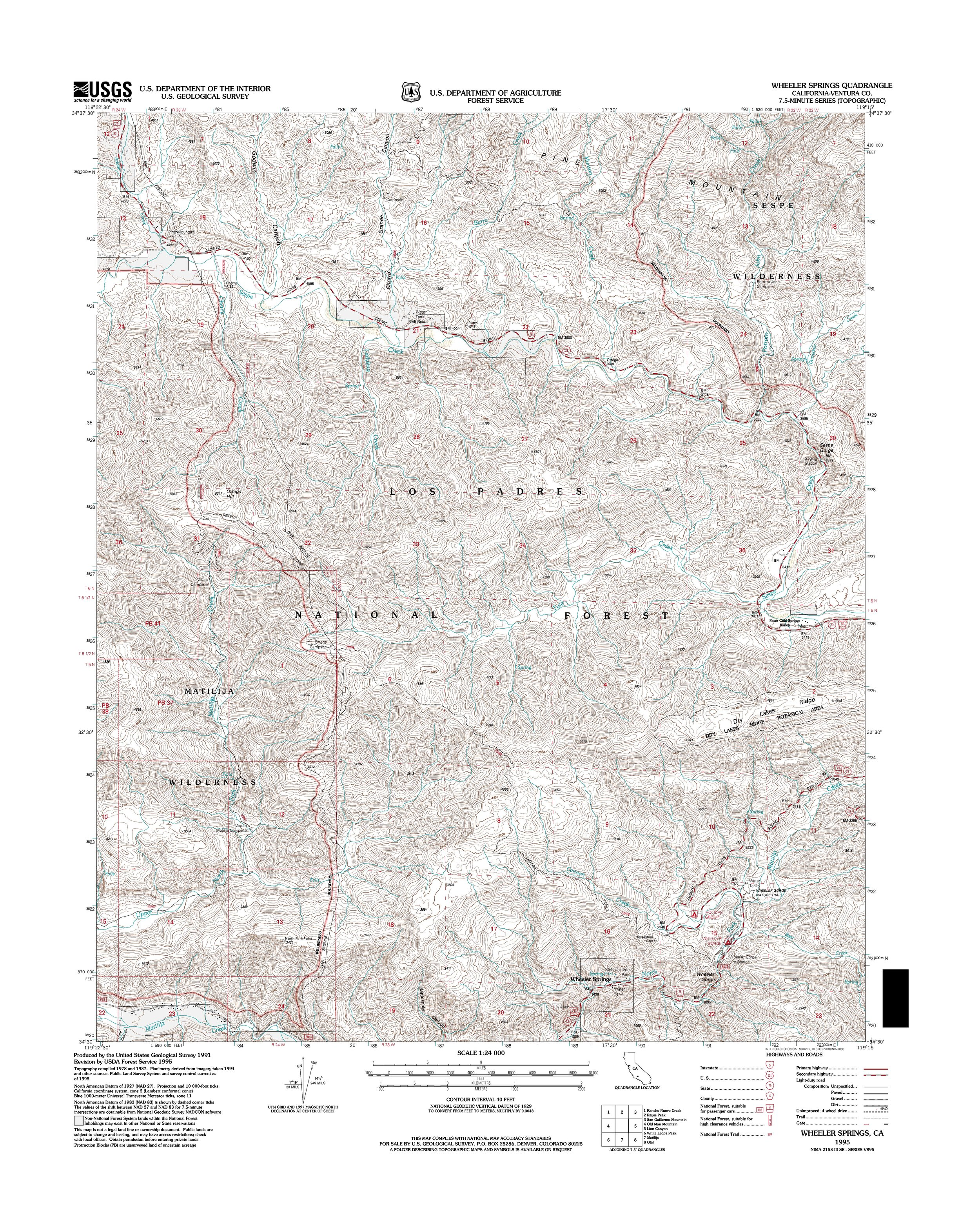 Wheeler Springs Topography Map