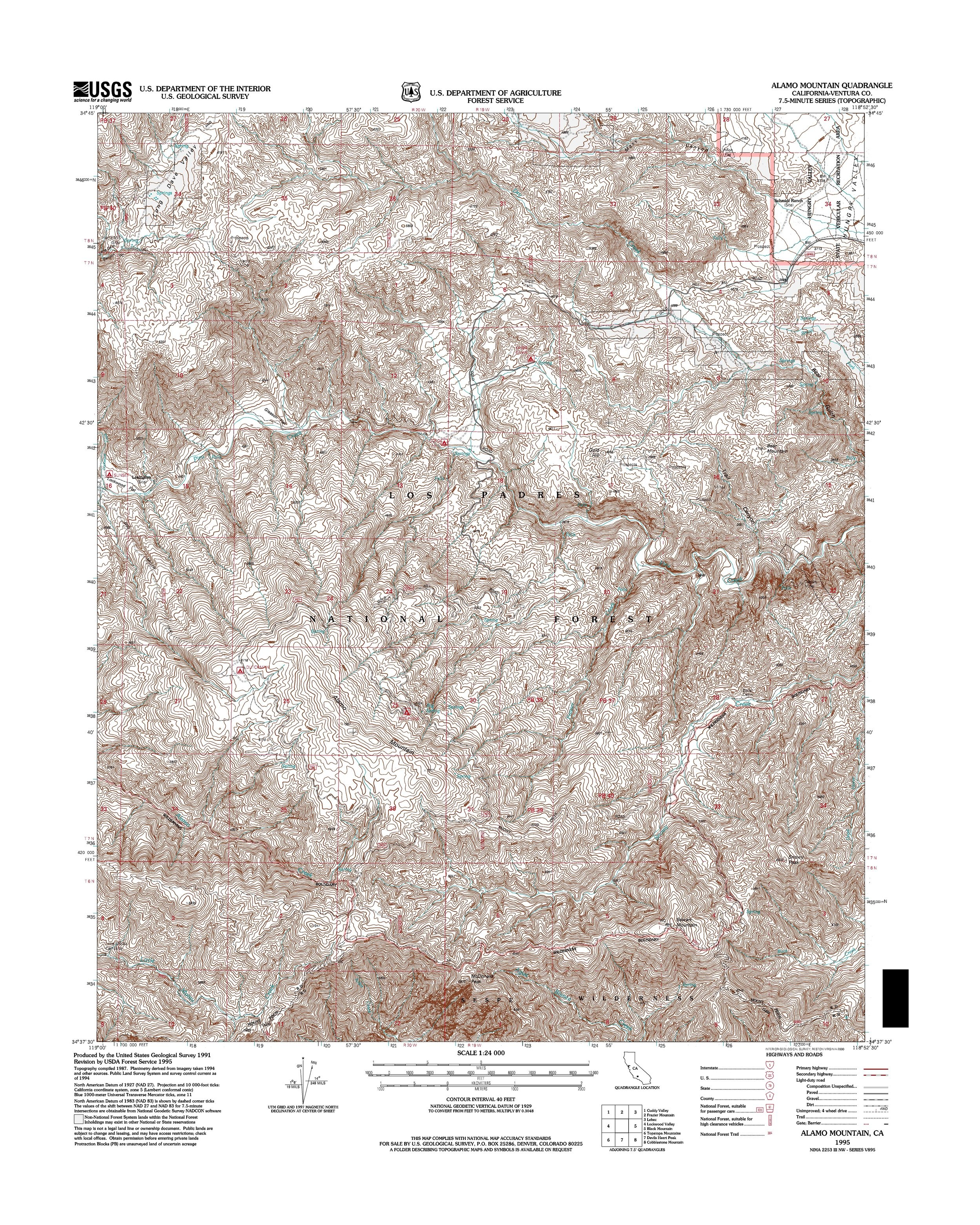 Alamo Mountain Topography Map