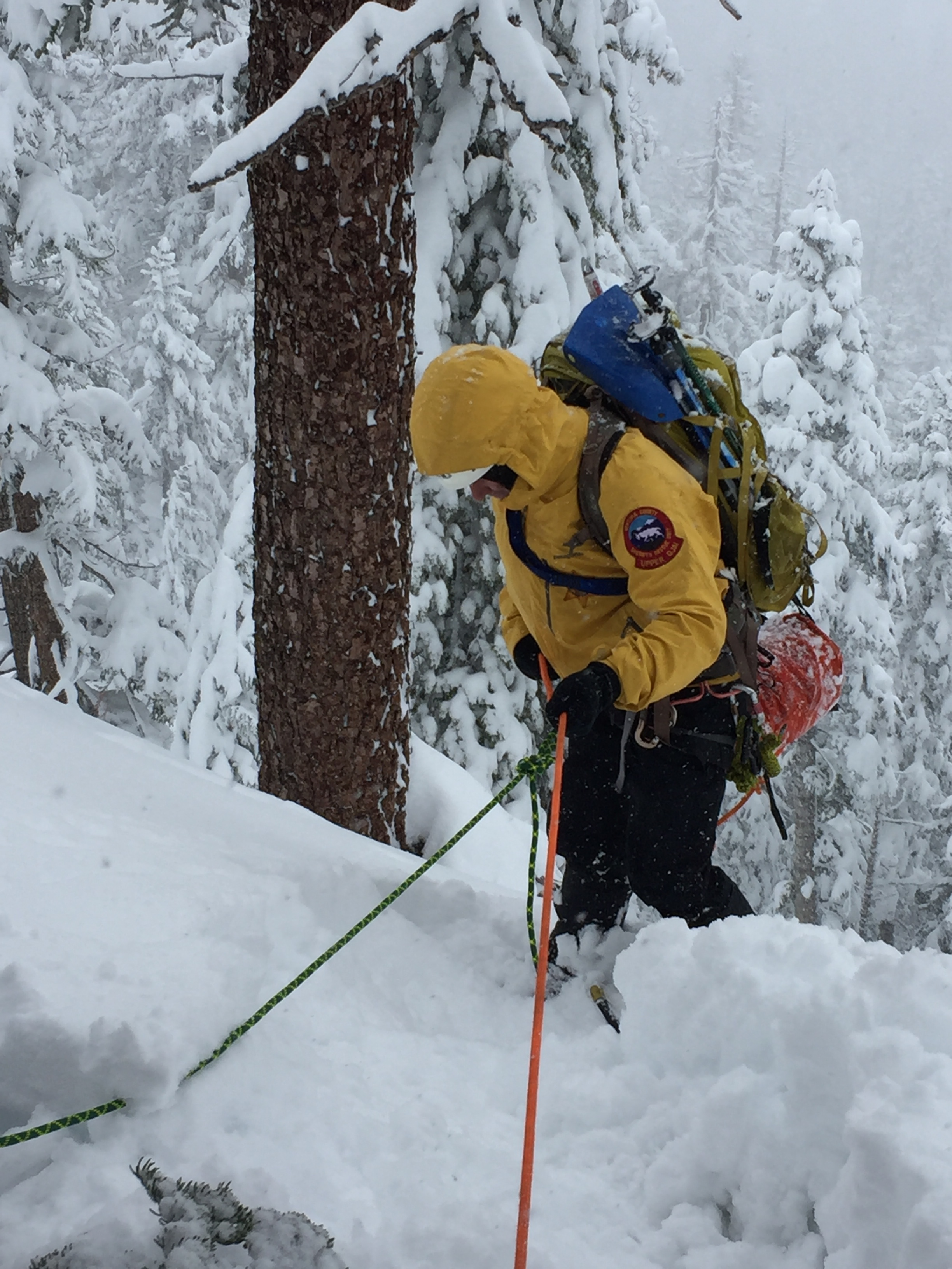 alpine Team - The Alpine Specialty Team is a group of dedicated members who excel in the world of snow, rock and ice. They are extremely adapted to operating in frigid snowy environments at high elevations. They are individuals who have received advanced training in navigation, avalanche dangers and winter survival skills. The special team leaders have completed the California Office of Emergency Services Search Management class for the Direction and Control of the Search Function Winter SAR course. Special gear the teams use are special dry dynamic ropes, avalanche beacons, avalanche probes, shoves, snow shoes, and crampons just to name a few specialty items. Each member has been issued special clothing for operating in the extreme cold and each member must carry a pack that will ensure their survival for 72 hours.