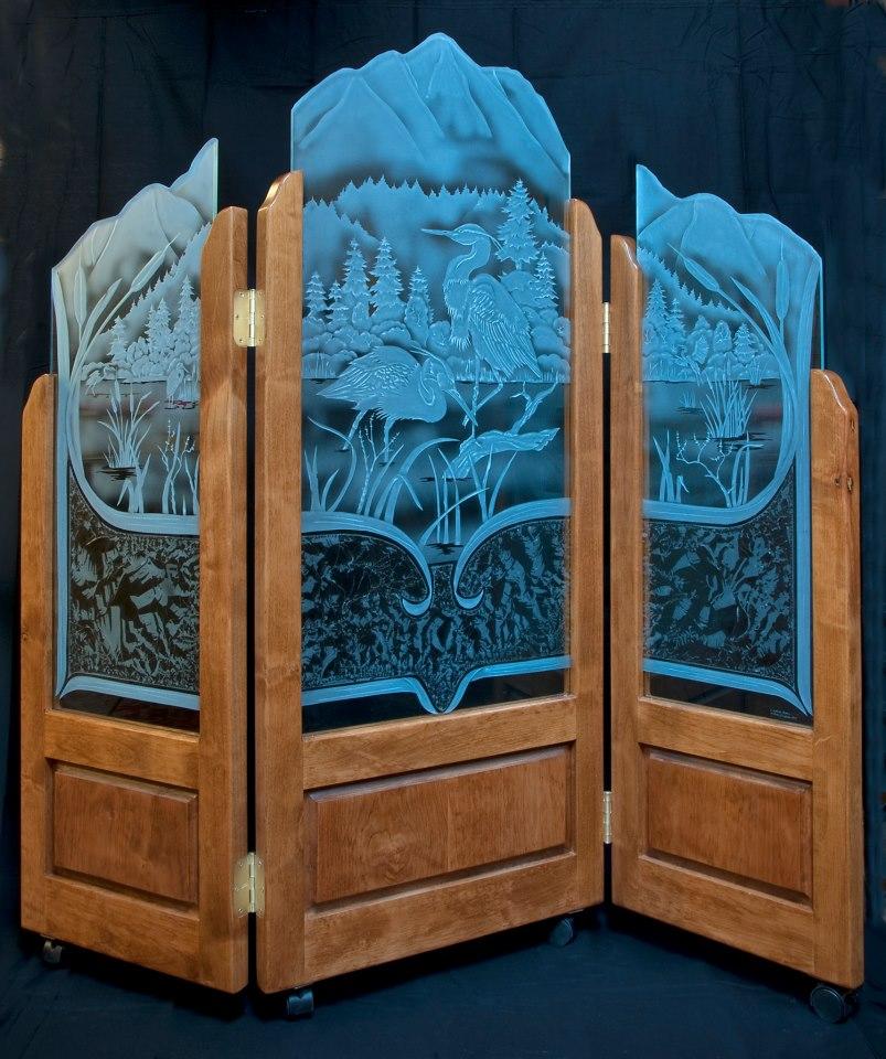 3 panel screen - Egrets