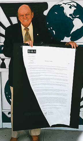 Advocating + Resolution - Tory at Miami City Hall in January 2002 presenting a Resolution from BHA calling for restricting contractors from usurping the sidewalks and streets. The construction boom was taking over at the risk of pedestrian safety.
