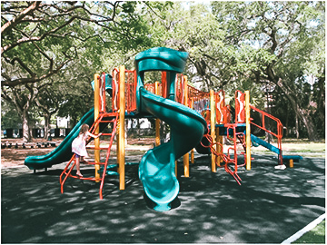 Beatriz Planas provided examples of other playgrounds in Miami where the play equipment is more suitable for young children. Above set is in Peacock Park in Coconut Grove.