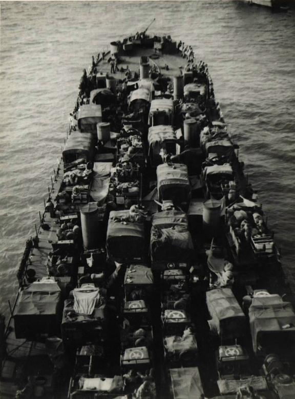 Bay of Tunis, July 1943, LST-325 is loaded up for the invasion of Sicily