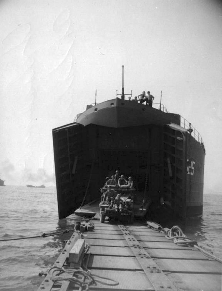 Unloading across pontoon causeway at Salerno, September 1943