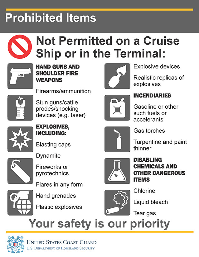 Coast Guard Restricted Items - Please note that as an operational vessel, we are required to follow coast guard regulations on banned materials and items. These restrictions will be enforced for all tours and visits.