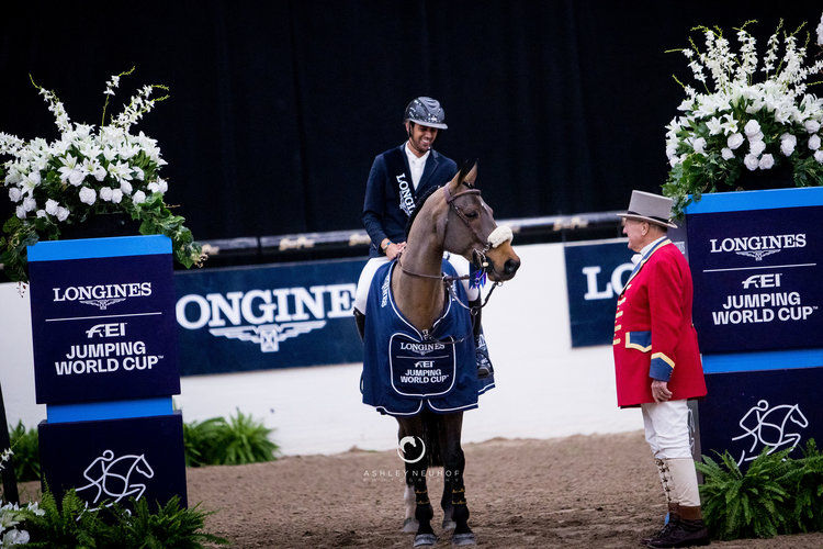 Nayel Nassar and Lordan in the Longines FEI Jumping World Cup™ Las Vegas Photo: Ashley Neuhof Photography