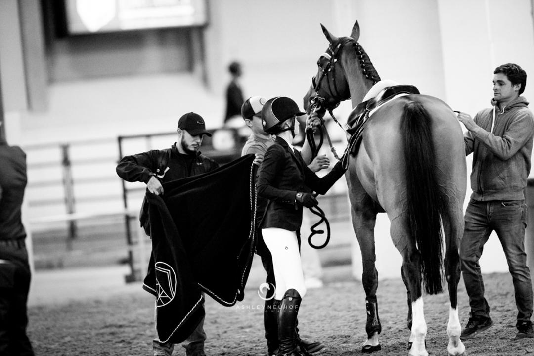 Jenn Gates, Monaco, and the Evergate team at the Las Vegas National Horse Show. Photo by Ashley Neuhof Photography.