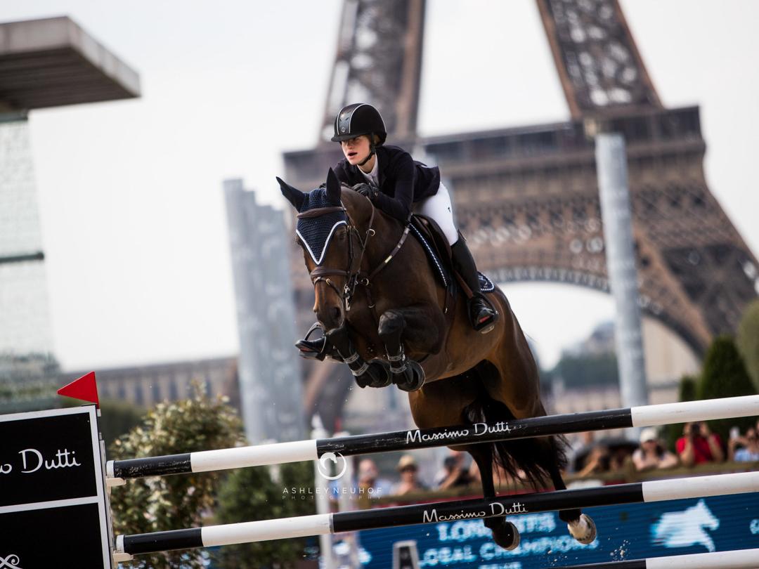 Jenn Gates and Dolinn at the 2018 Global Champions Tour of Paris. Photo by Ashley Neuhof Photography.
