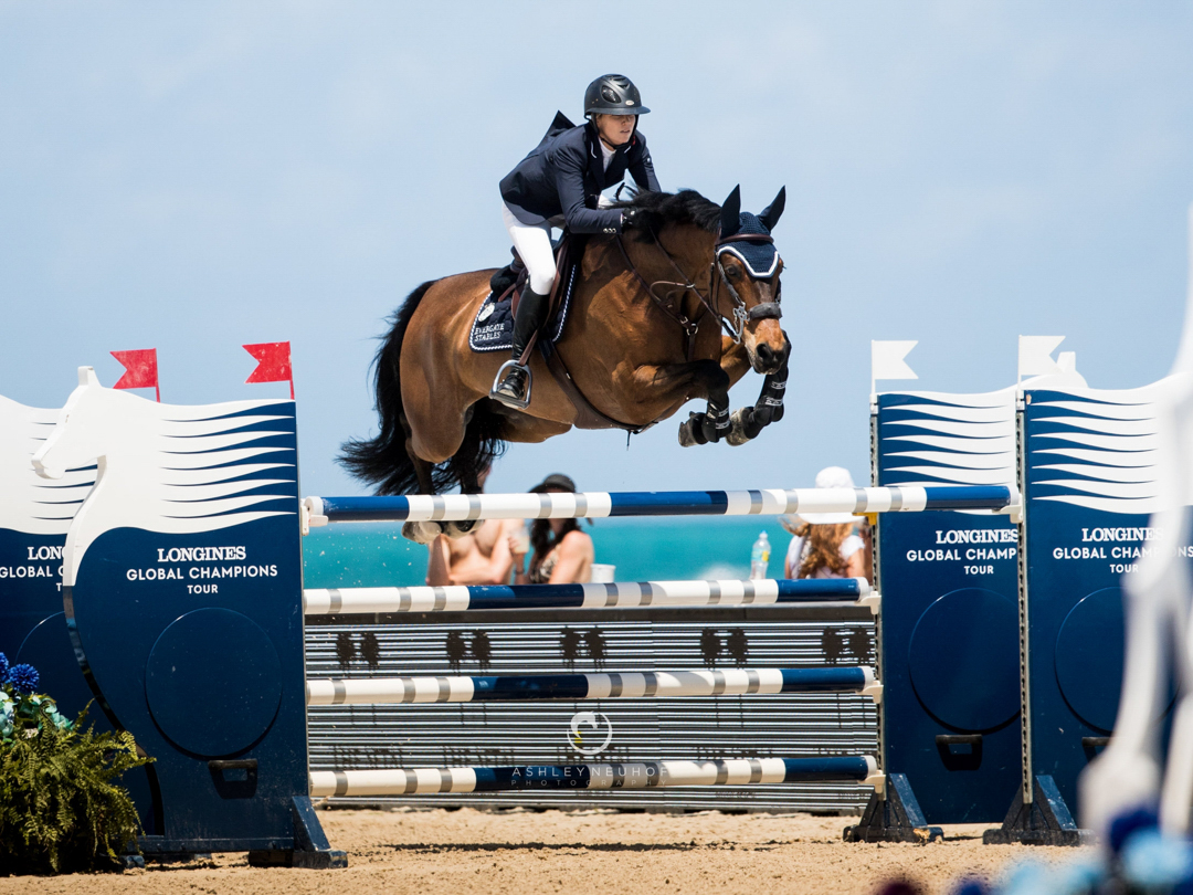 Sayre Happy and Celena VDL at 2018 Global Champions Tour of Miami. Photo by Ashley Neuhof Photography.