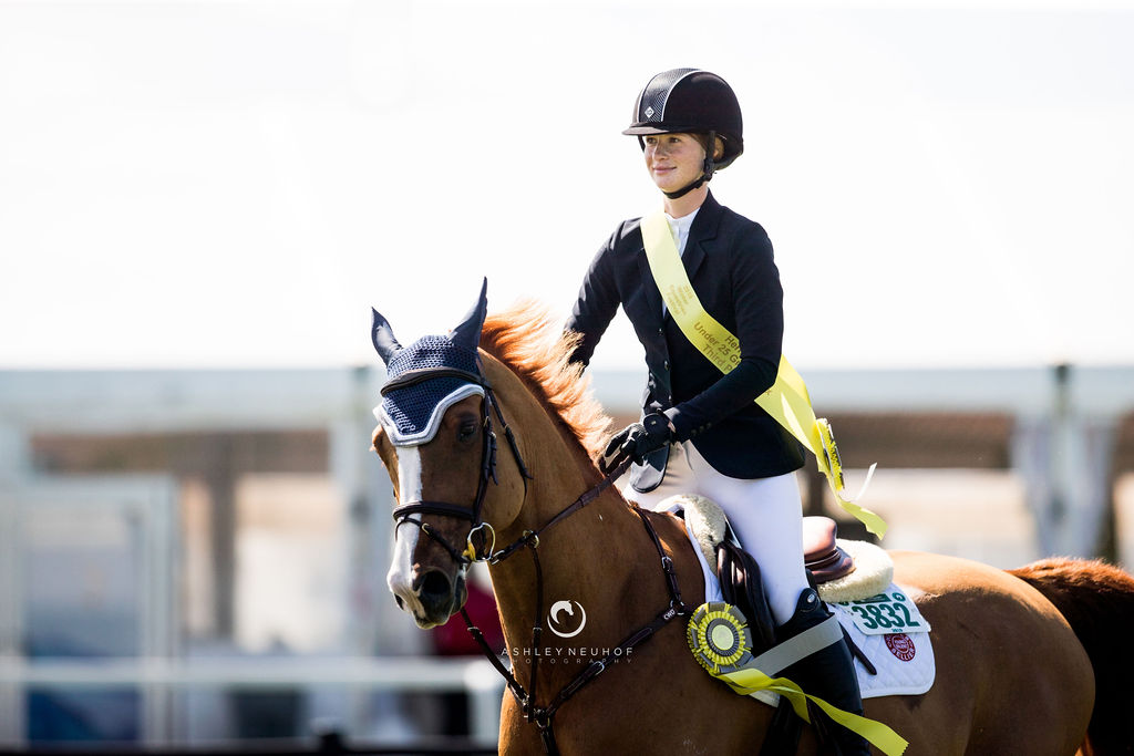 Jenn Gates and Oaks Redwood at Winter Equestrian Festival 2019. Photo by Ashley Neuhof Photography.