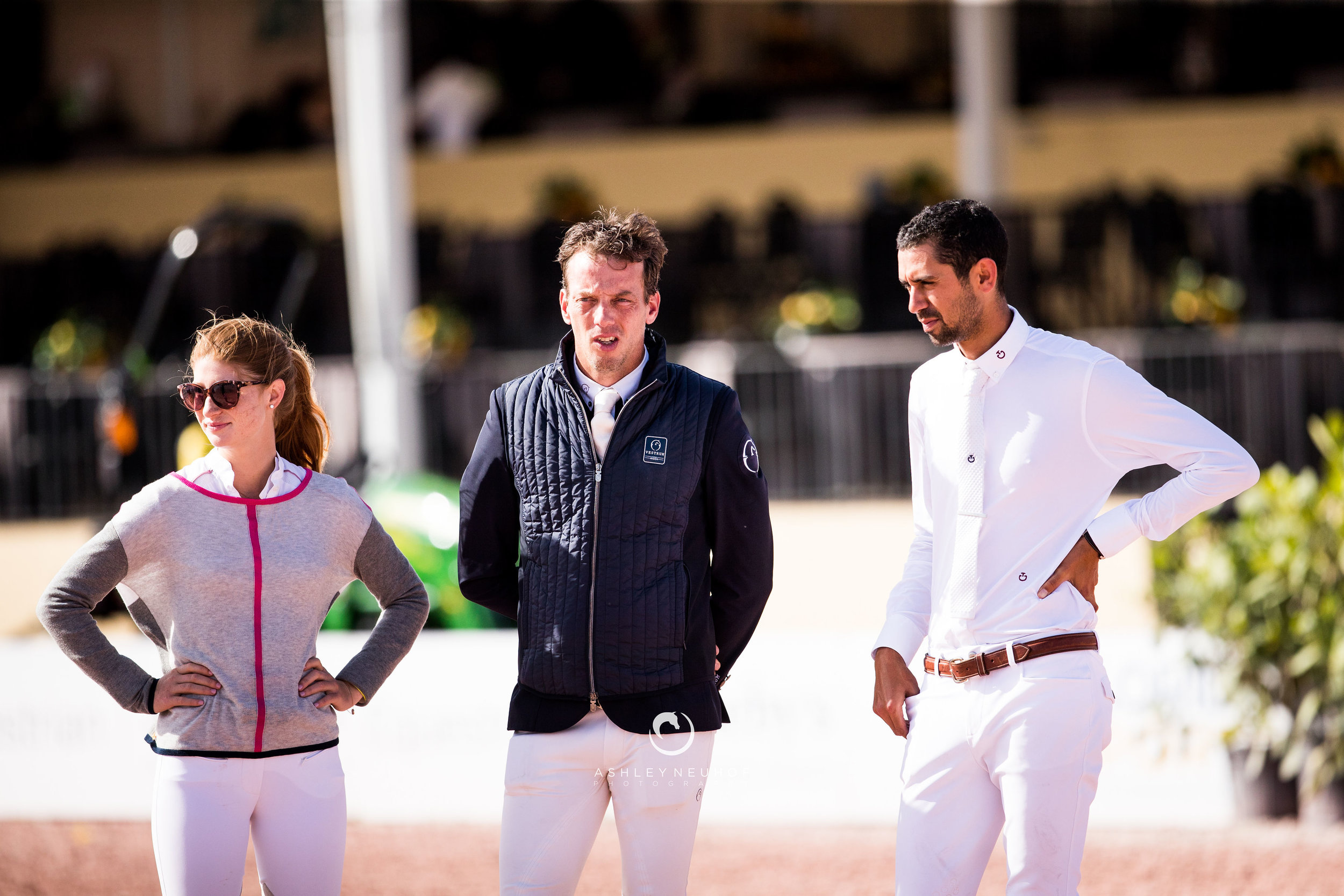 Jenn Gates, Harrie Smolders and Nayel Nassar at Winter Equestrian Festival 2019. Photo by Ashley Neuhof Photography.