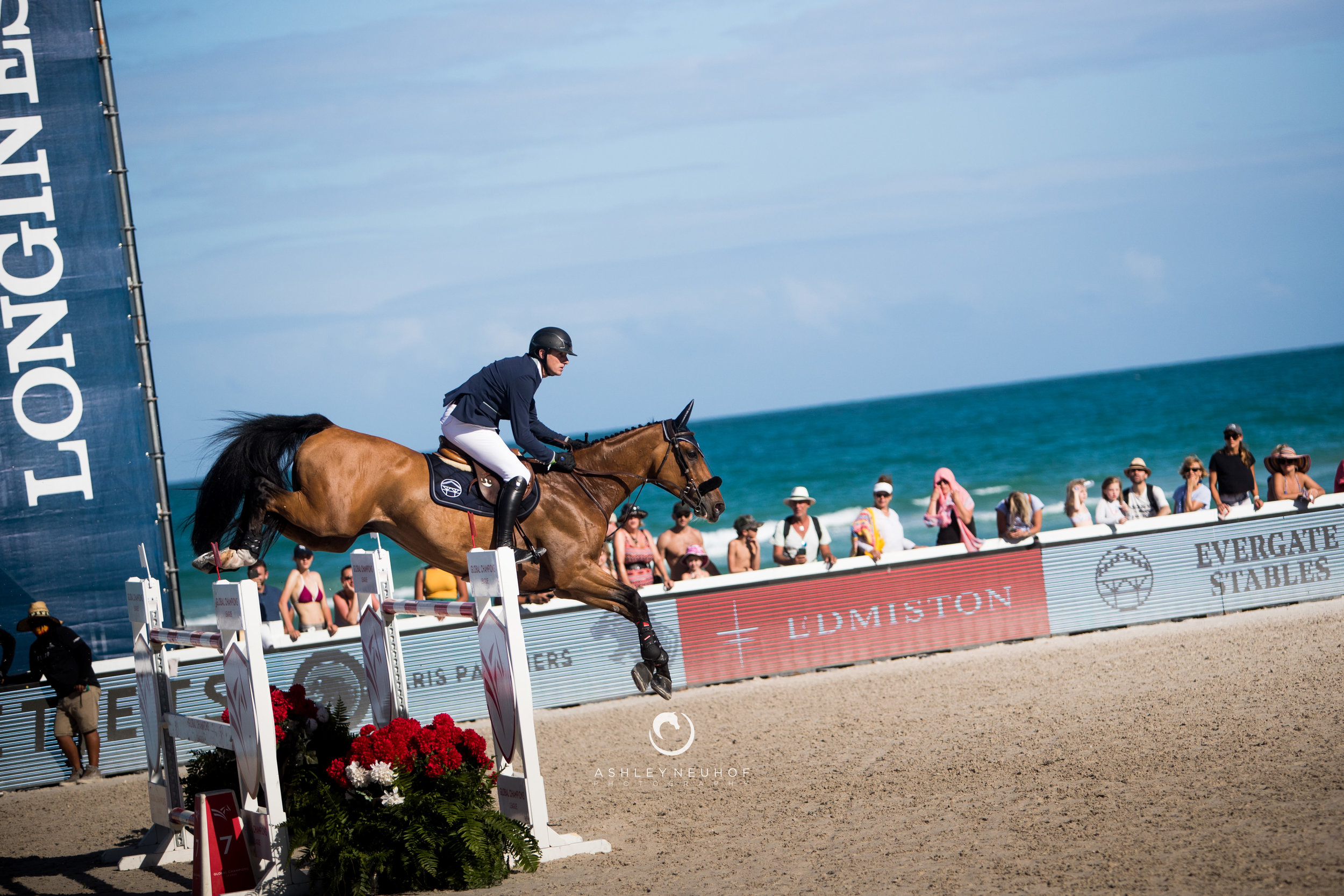 Gregory Wathelet and Qualido 3 at Global Champions League of Miami 2019. Photography by Ashley Neuhof Photography.
