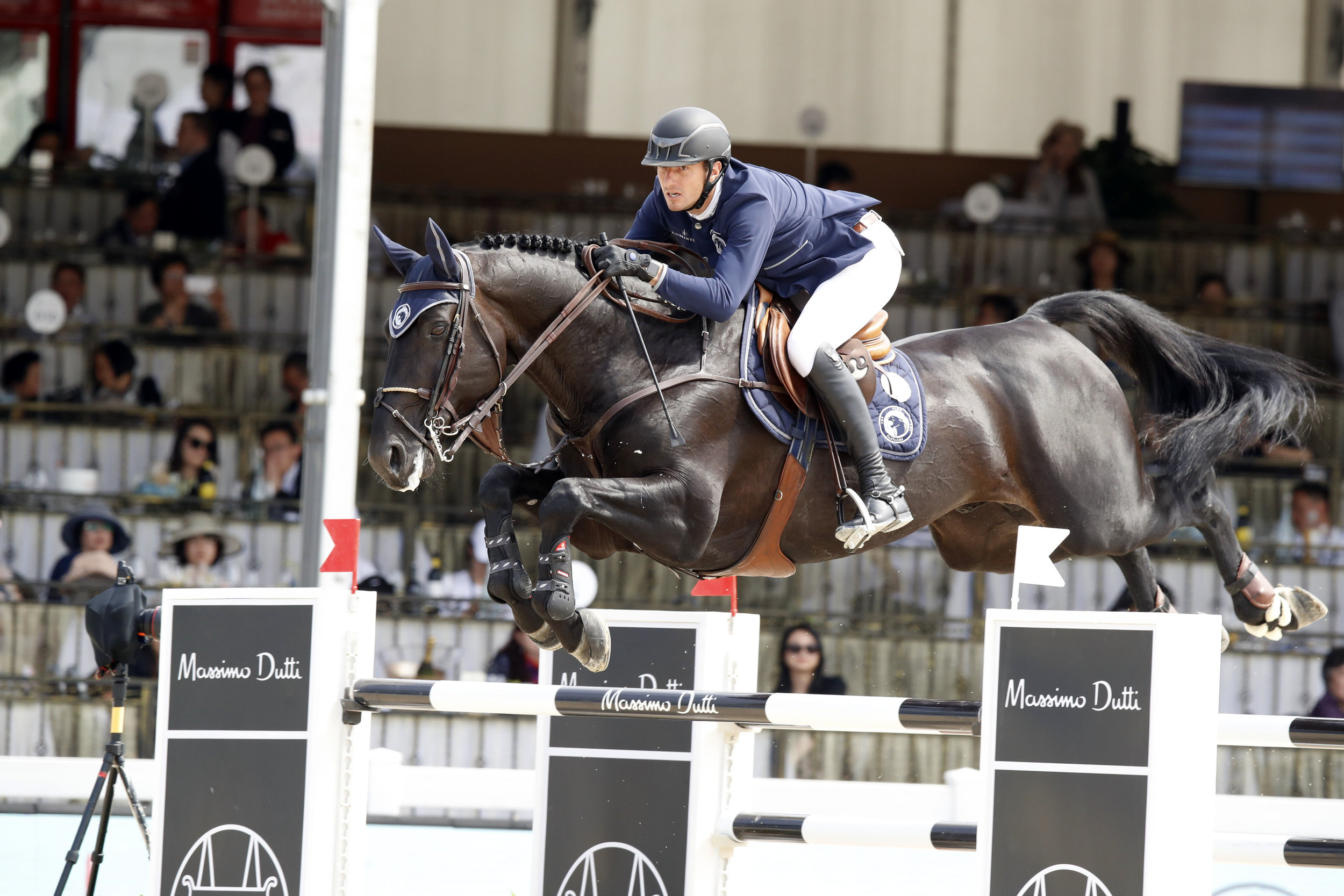 Gregory Wathelet and Iron Man van de Padenborre at Global Champions League of Shanghai 2019. Photography by Stefano Grasso.