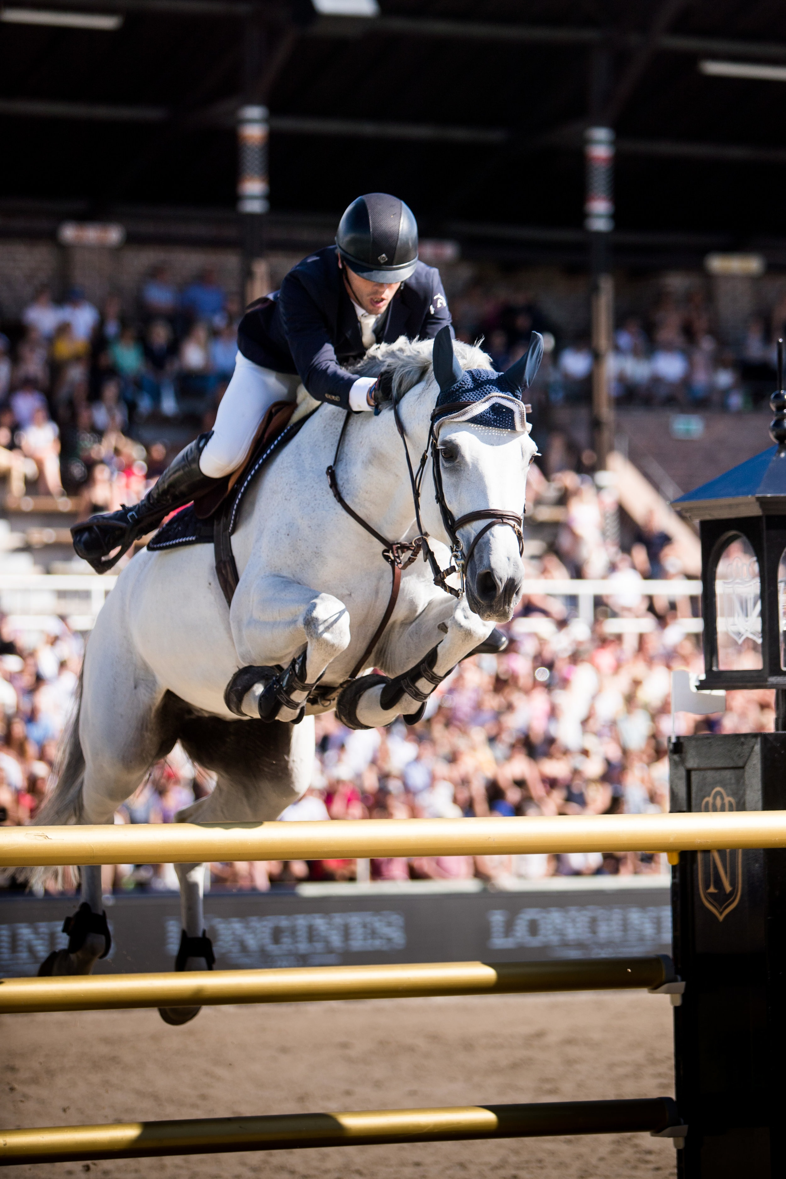 Harrie Smolders and Une de l'Othain at Longines Global Champions Tour of Stockholm 2019. Photo by Ashley Neuhof Photography.