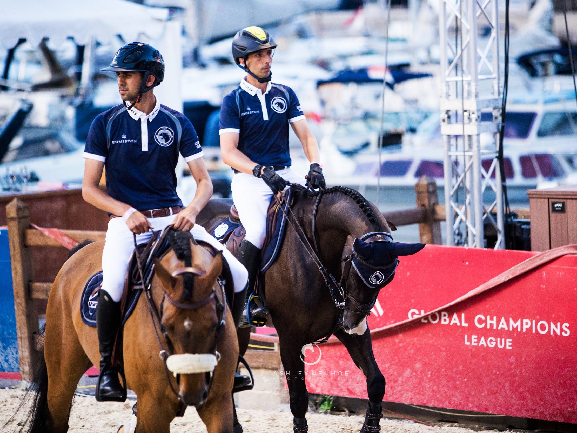 Nayel Nassar and Lordan with Yuri Mansur and Carlson at Global Champions League of Monaco 2019. Photo by Ashley Neuhof Photography.