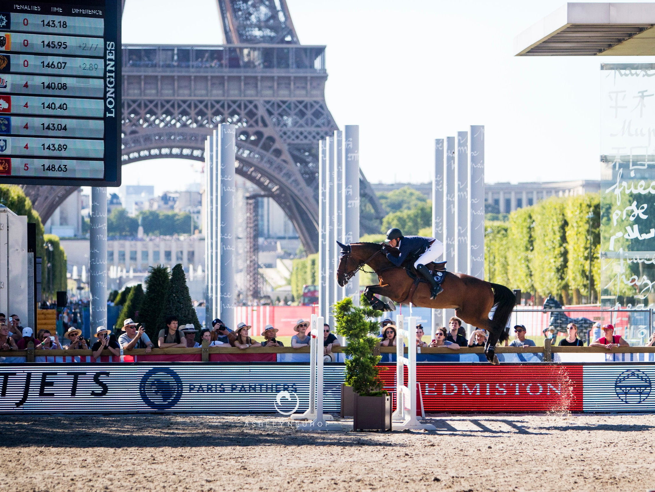 Gregory Wathelet and Picobello Full House Ter Linden Z at Global Champions League of Paris 2019. Photo by Ashley Neuhof Photography.