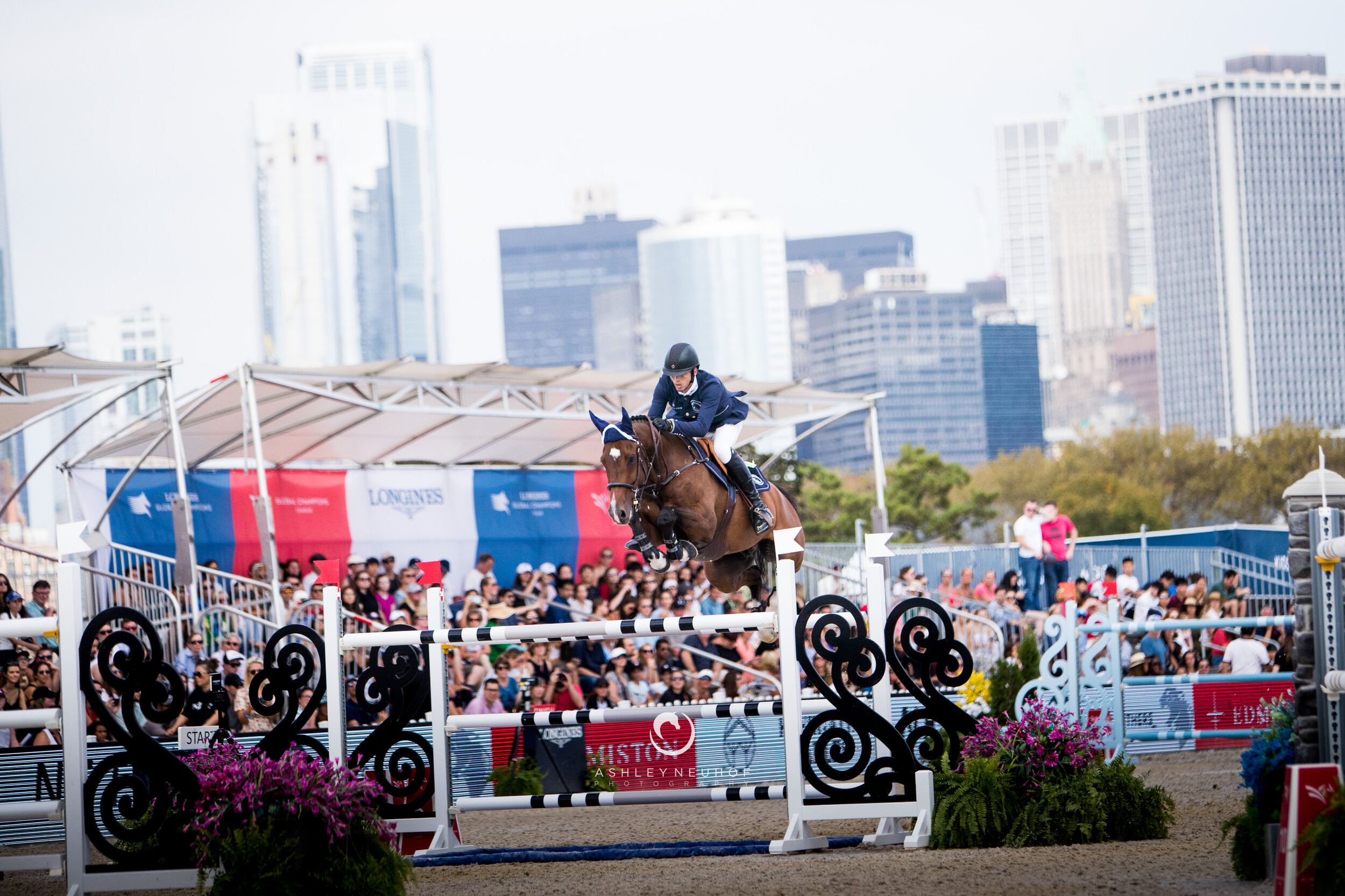 Harrie Smolders and Monaco at Global Champions League of New York 2019. Photo by Ashley Neuhof Photography.