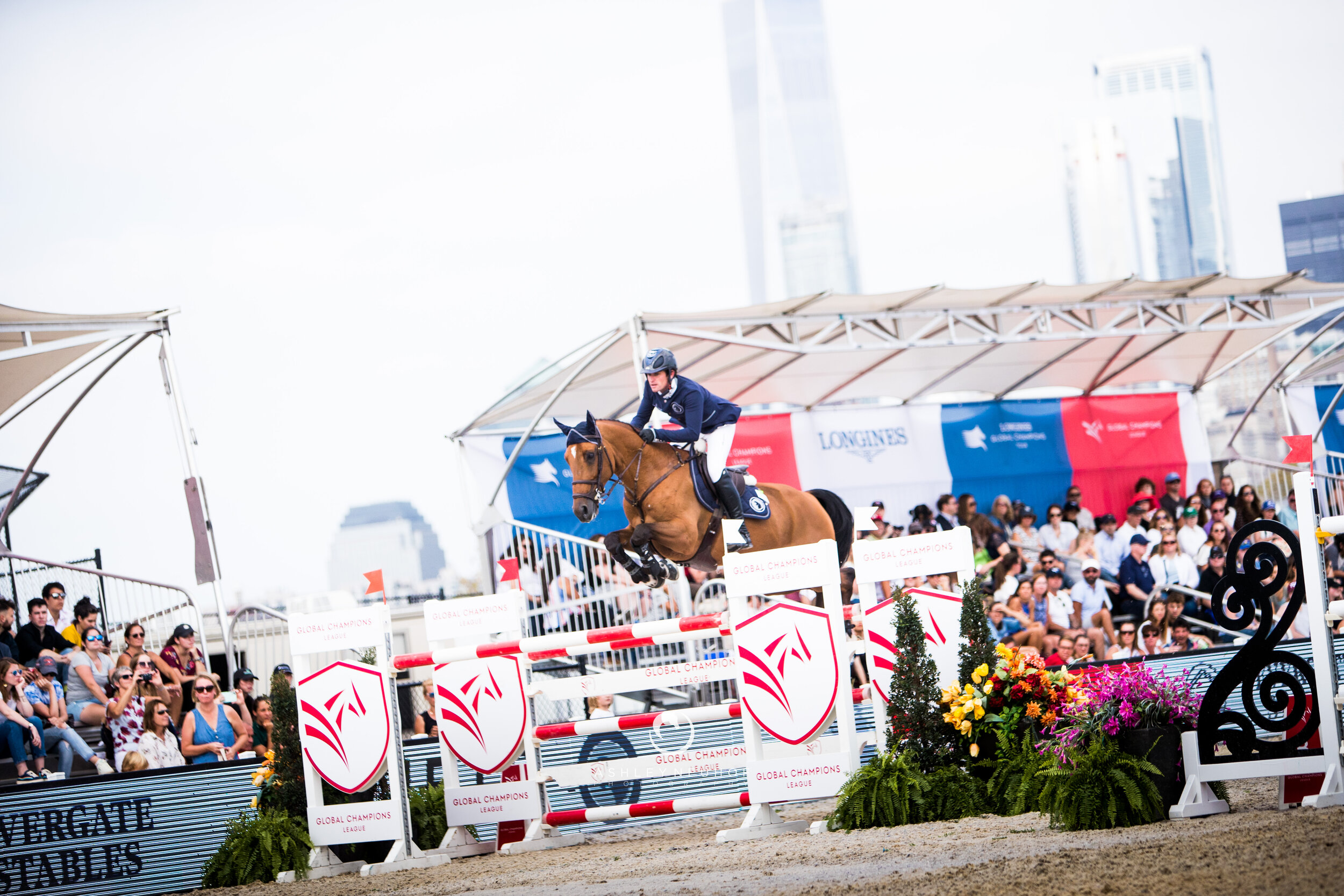 Darragh Kenny and Romeo 88 at Global Champions League of New York 2019. Photo by Ashley Neuhof Photography.