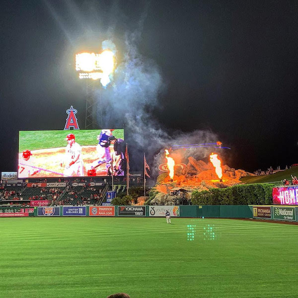 Fire on the rocks following a Justin Bour home run