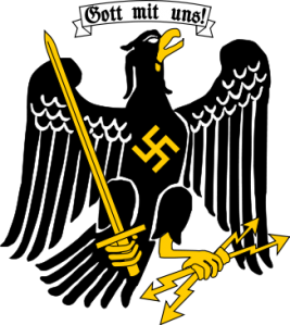 Coat of Arms of Prussia after 1933   Gott mit uns! (God with us!)   Prussia  represents a historic state originating out of the Duchy of Prussia and the Margraviate of Brandenburg. For centuries this state had substantial influence on German and European history. The last capital of the state of Prussia was Berlin.  After the  Machtergreifung  (seizure of power) in 1933, Prussia became a Nazi state. Hitler himself became formally the governor of Prussia. His functions were exercised, however, by Hermann Göring, as Prussian prime minister.  (Coat of arms source:  Wikipedia )