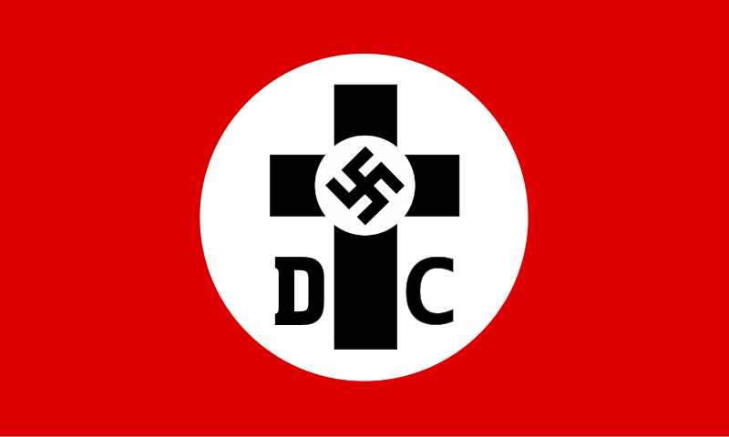 Deutsche Christen Flag   The  Deutsche Christen  (German Christians) were a German Protestantism movement aligned towards antisemetic principles of Nazism. The DC were sympathetic to Hitler's goal of uniting the individual Protestant churches into a single Reich church.  The DC was first formed in 1931 and the flag was flown during marches and demonstrations. (Source:  Wikimedia Commons )