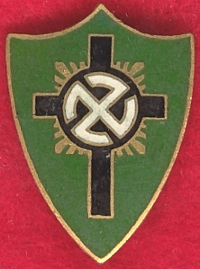 German Christian Movement Badge   (Deutsch-Christliche Mitgliedsabzeichen)  Enamel, 22x24mm, pin-backed, gold coloured badge  Hitler backed The German Christians movement (DC) with the party's organizational support.  (Source:  Dan Kelley's Treasures of the Third Reich)
