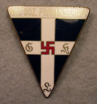 """Frauenschaft Badge   The National Socialist Women's Organization ( Nationalsozialistische Frauenschaft , or NSF), affirmed all the recognized fundaments of Nazi ideology, including the preservation of Christian belief.  Lili Otto, one of the leaders of the NSF wrote in 1933:  """"Our Frauenschaft flag carries the same colors as the Swastika flag, with our flag black stands out, solemn and worthy. On top shine forth the Christian cross in the color of purity, constantly warning us: 'You women and mothers, be real Christians; protect Christianity in your family, rear your children to love the savior.'"""" (from Richard Steigmann-Gall's   The Holy Reich  ) (Photo source:  George Johns Militaria )"""