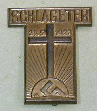 Schlageter pin badge  Brass die struck badge with a soldered spring pin. (Source:  Snyder's Treasures, militaria collectables)