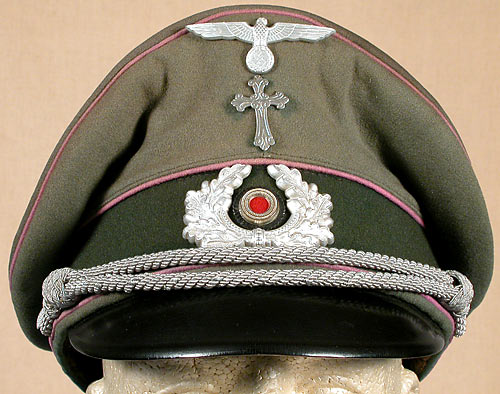 Nazi Army (Heer) chaplain's hat with silver Christian cross   (Source:  Warelics Militaria Collectibles )